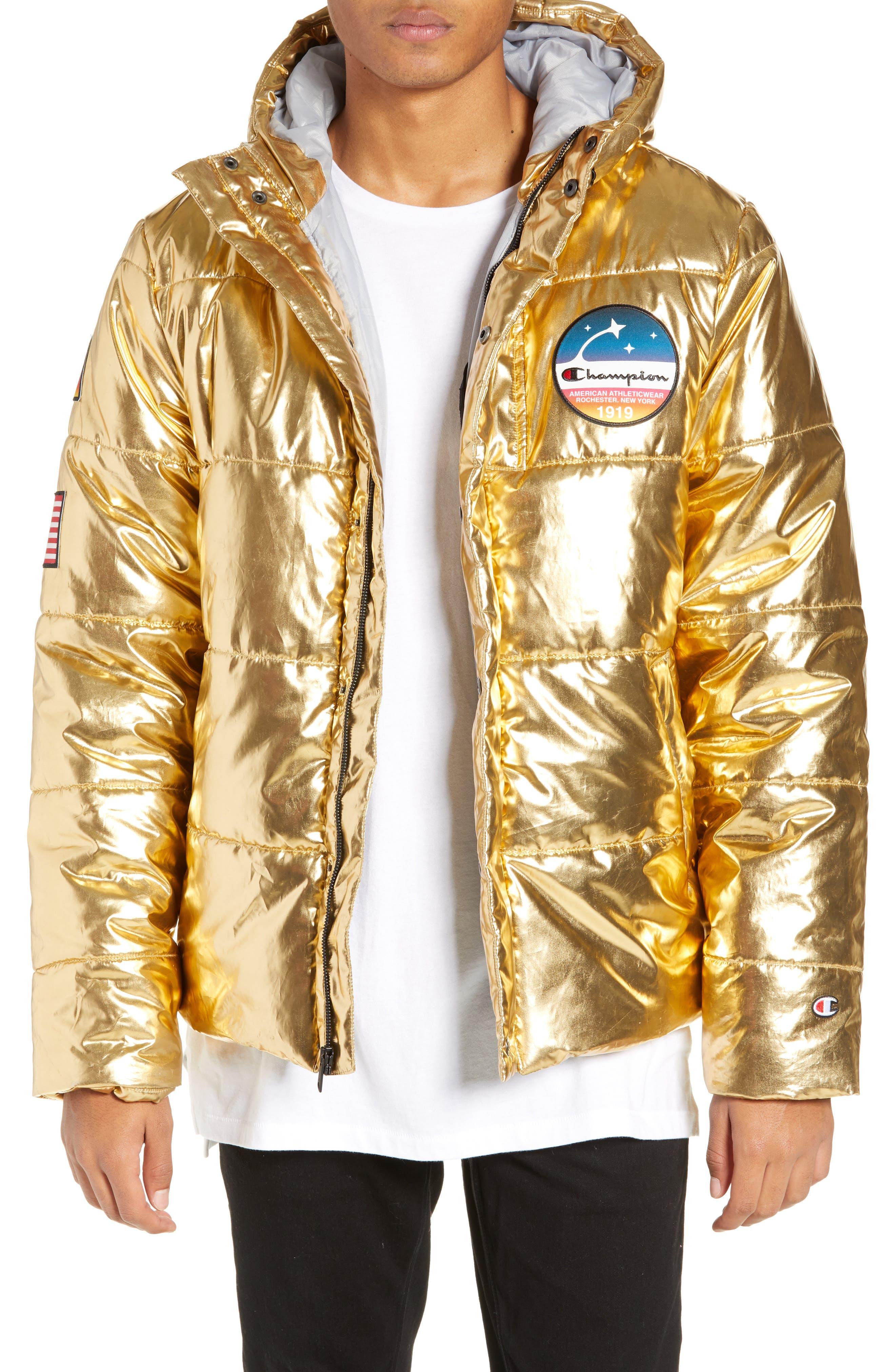 CHAMPION,                             Metallic Puffer Coat,                             Main thumbnail 1, color,                             718
