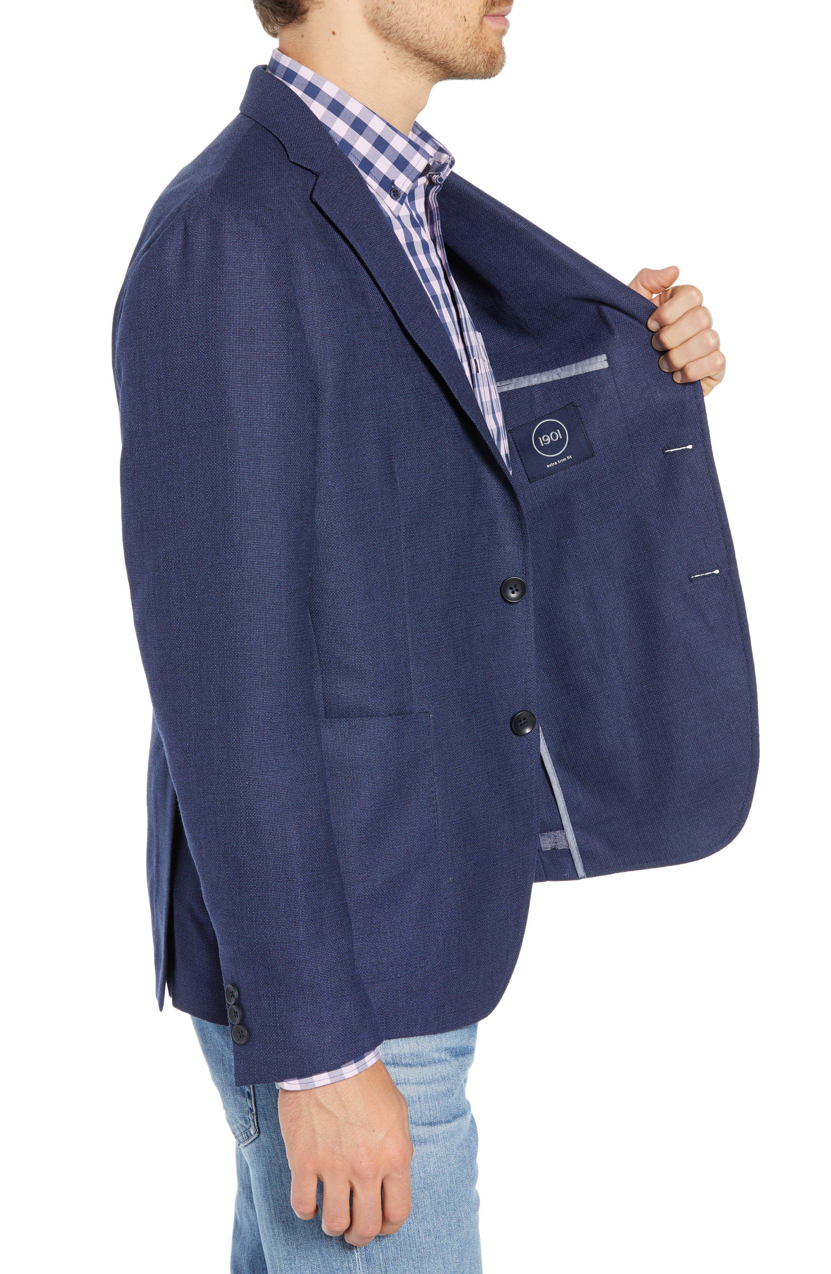 Extra Trim Fit Wool Sport Coat,                             Alternate thumbnail 3, color,                             BLUE