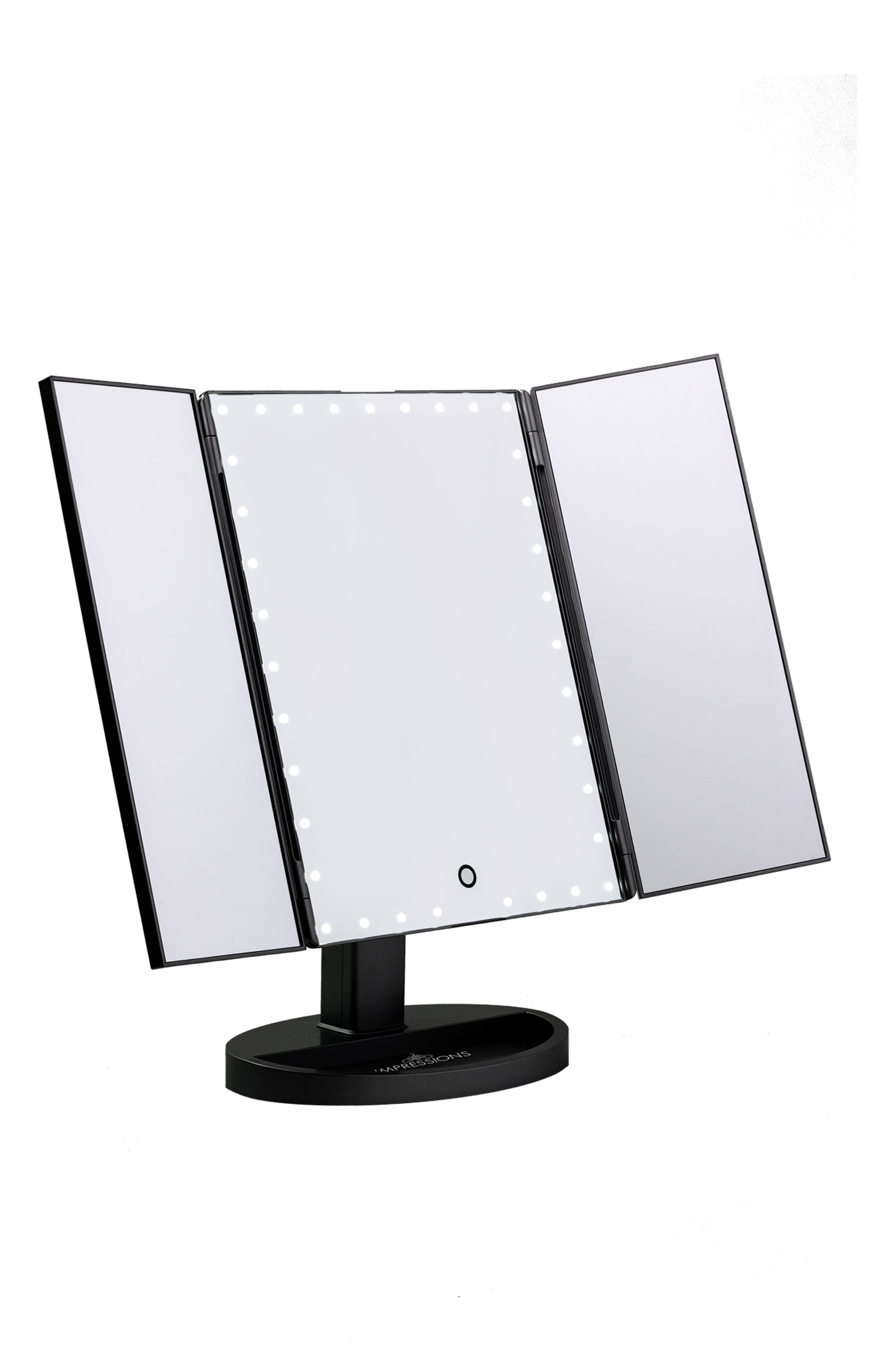 Touch Trifold XL Dimmable LED Makeup Mirror,                             Main thumbnail 1, color,                             001