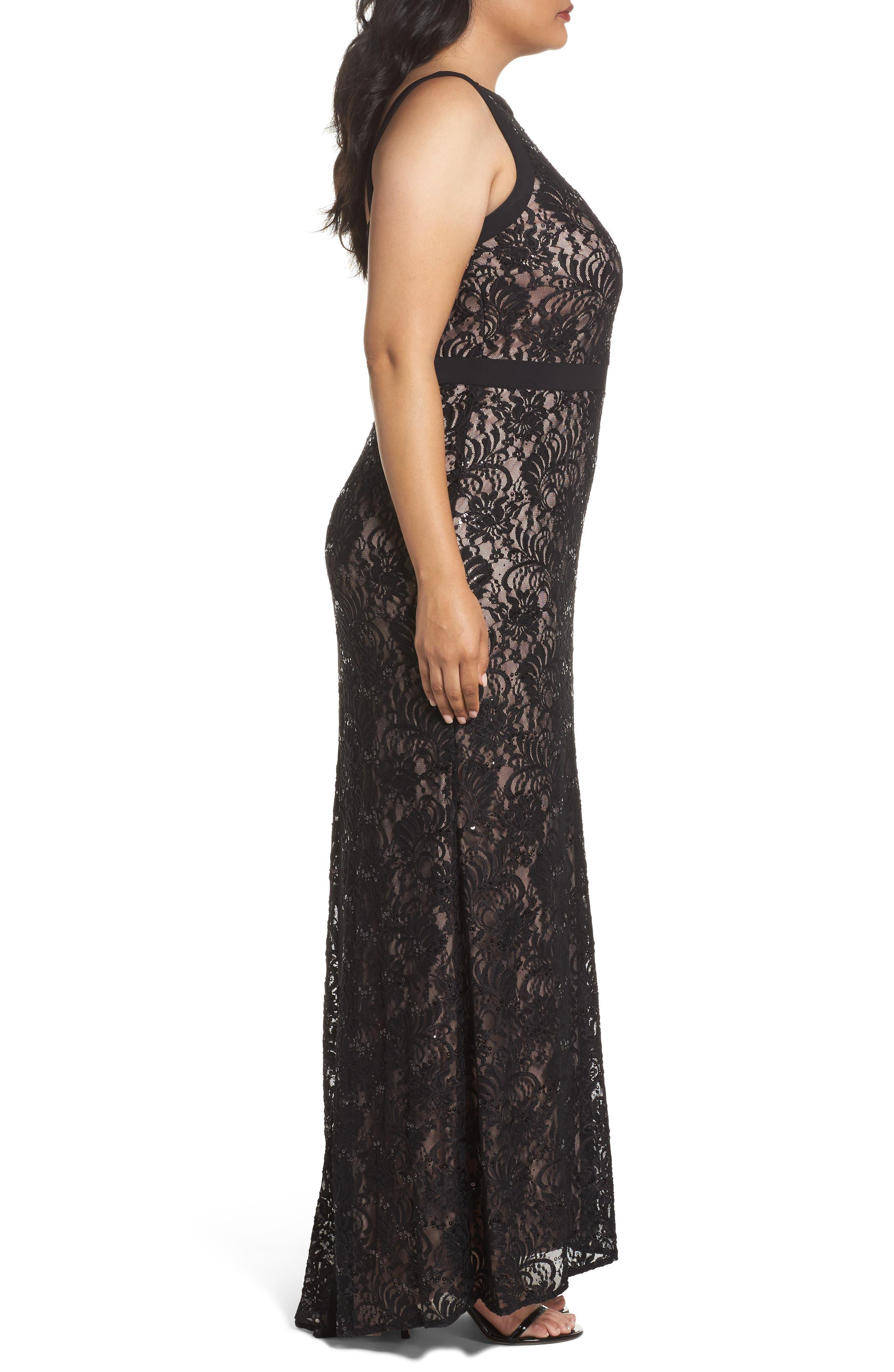 Lace Square Neck Gown,                             Alternate thumbnail 3, color,                             BLACK/ NUDE