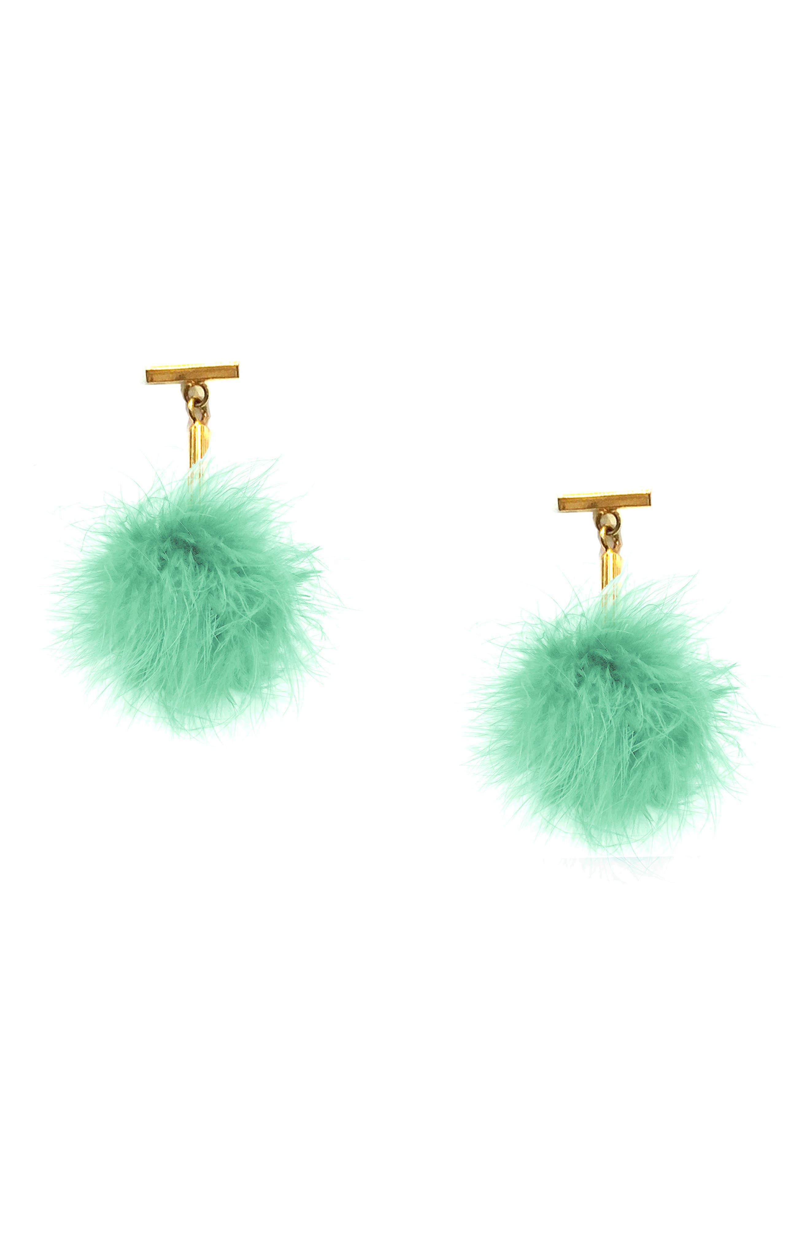 Mini Marabou Pompom Stud Earrings,                             Main thumbnail 1, color,