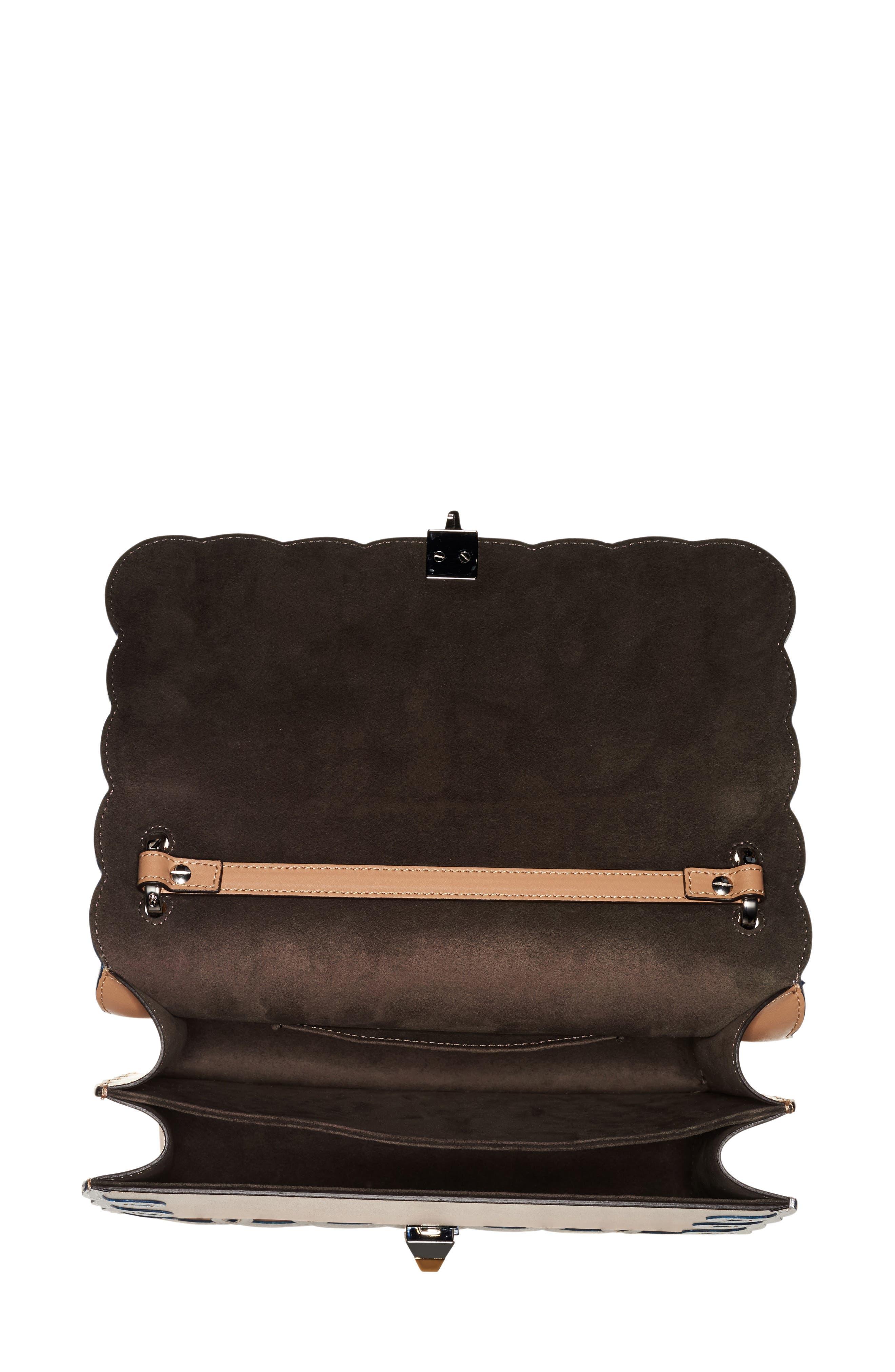 Kan I Scalloped Leather Shoulder Bag,                             Alternate thumbnail 3, color,                             CUIO/WHITE