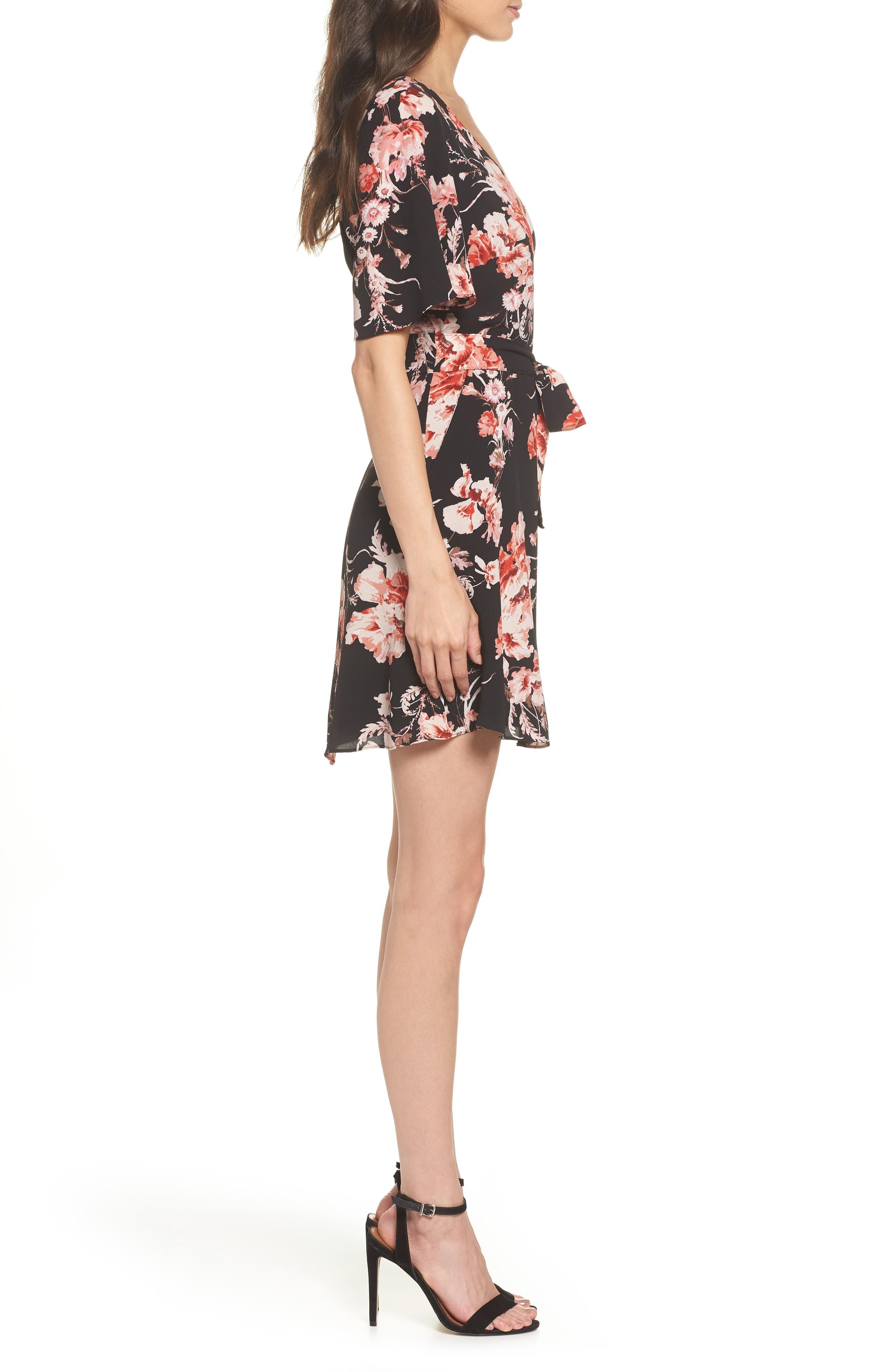 BB DAKOTA,                             Wait Until Dark Floral Dress,                             Alternate thumbnail 4, color,                             001