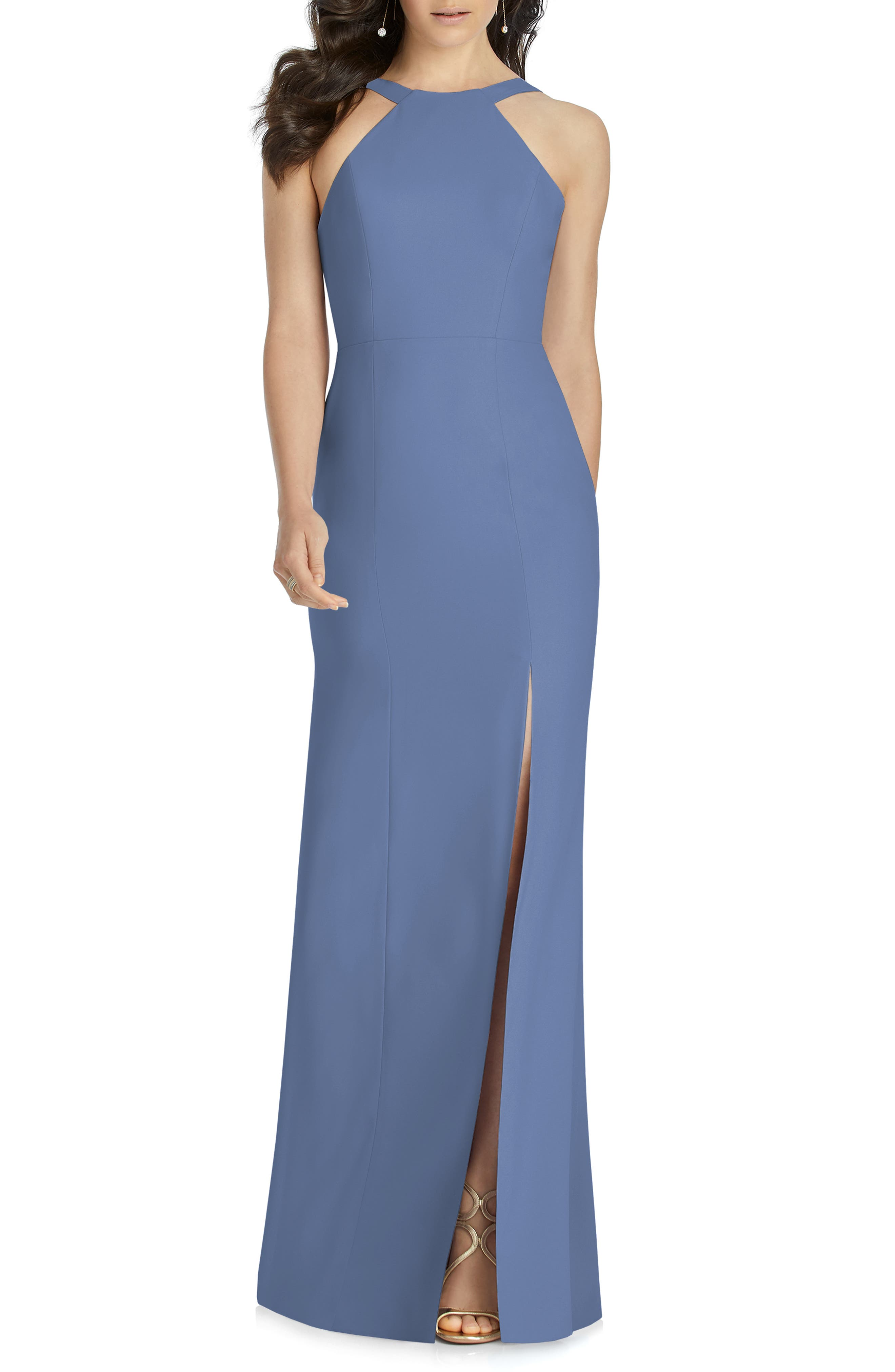 Dessy Collection Cutaway Shoulder Crepe Gown, 8 (similar to 1) - Blue