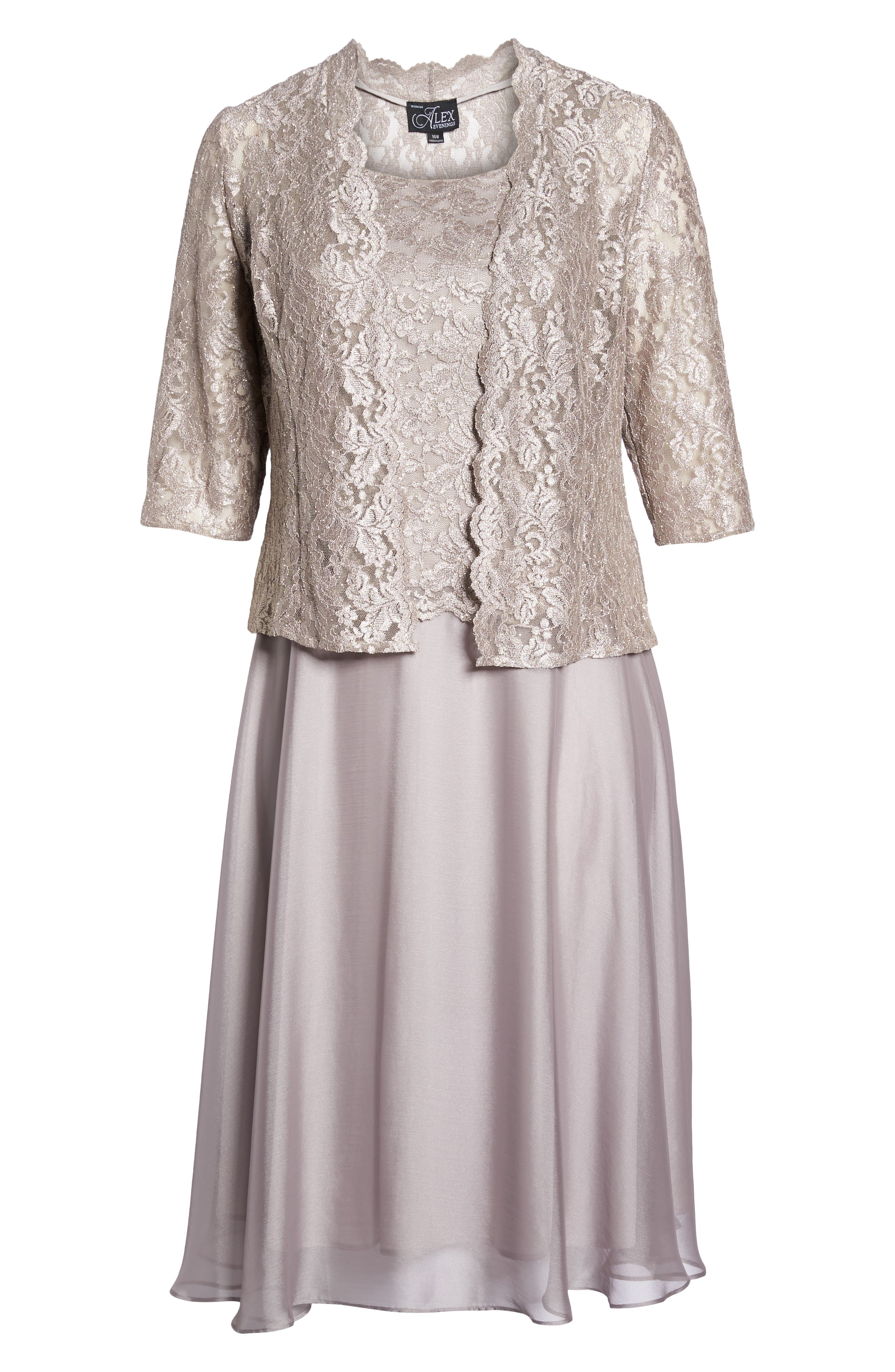 Lace Bodice Tea Length Dress with Jacket,                             Alternate thumbnail 7, color,                             MINK