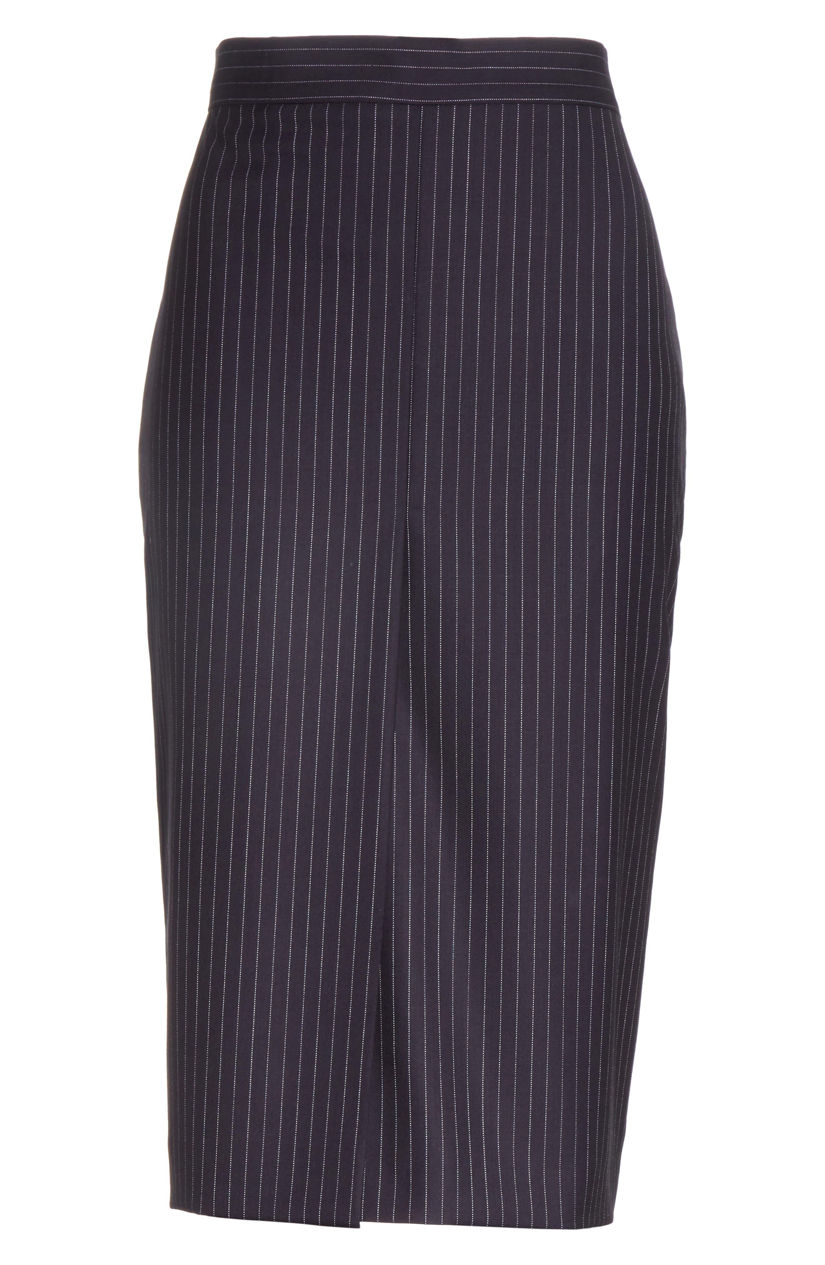 Abba Pinstripe Pencil Skirt,                             Alternate thumbnail 6, color,                             411