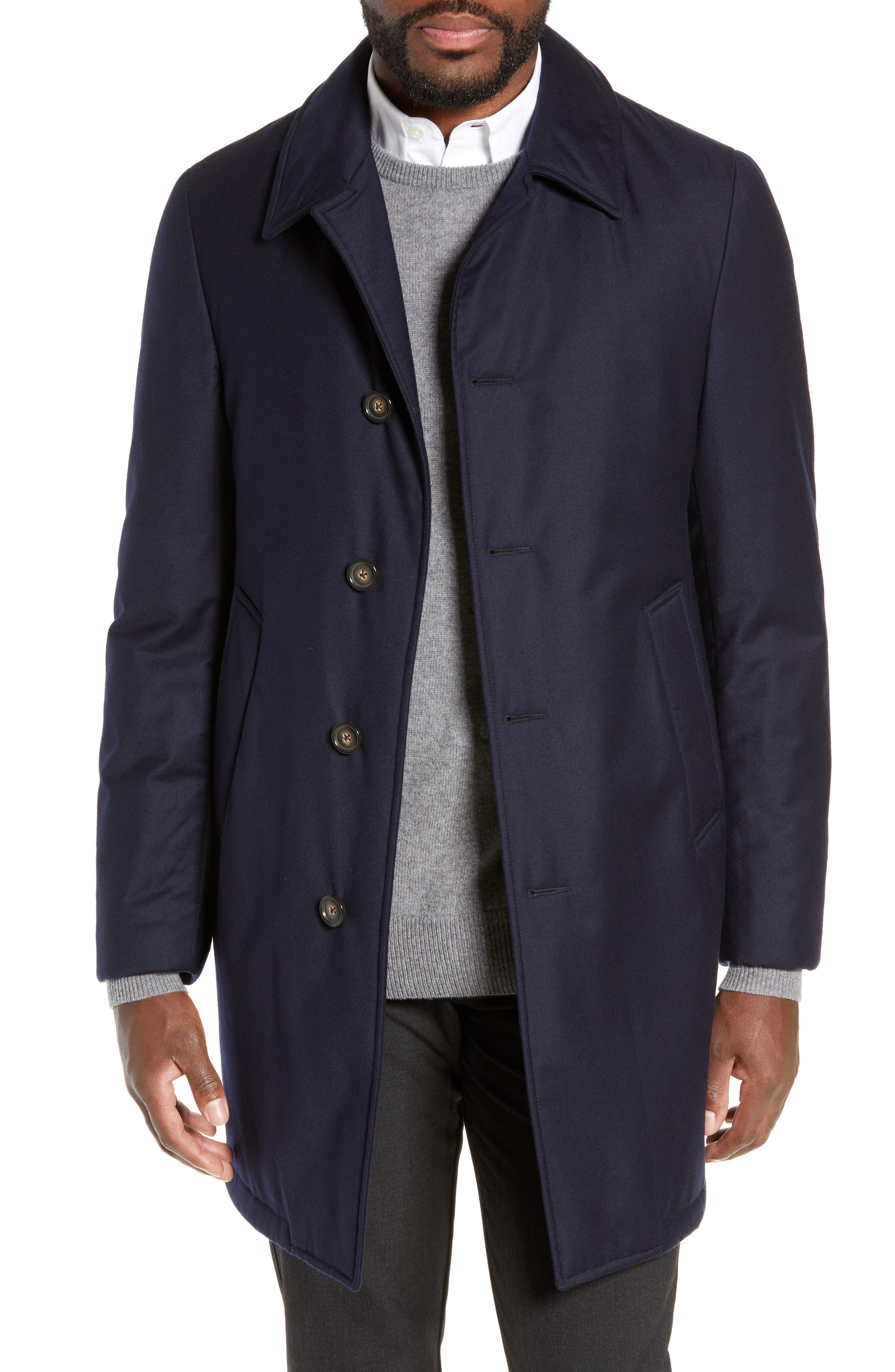 Hickey Freeman Wool Blend Down & Feather Coat, 0 R - Blue