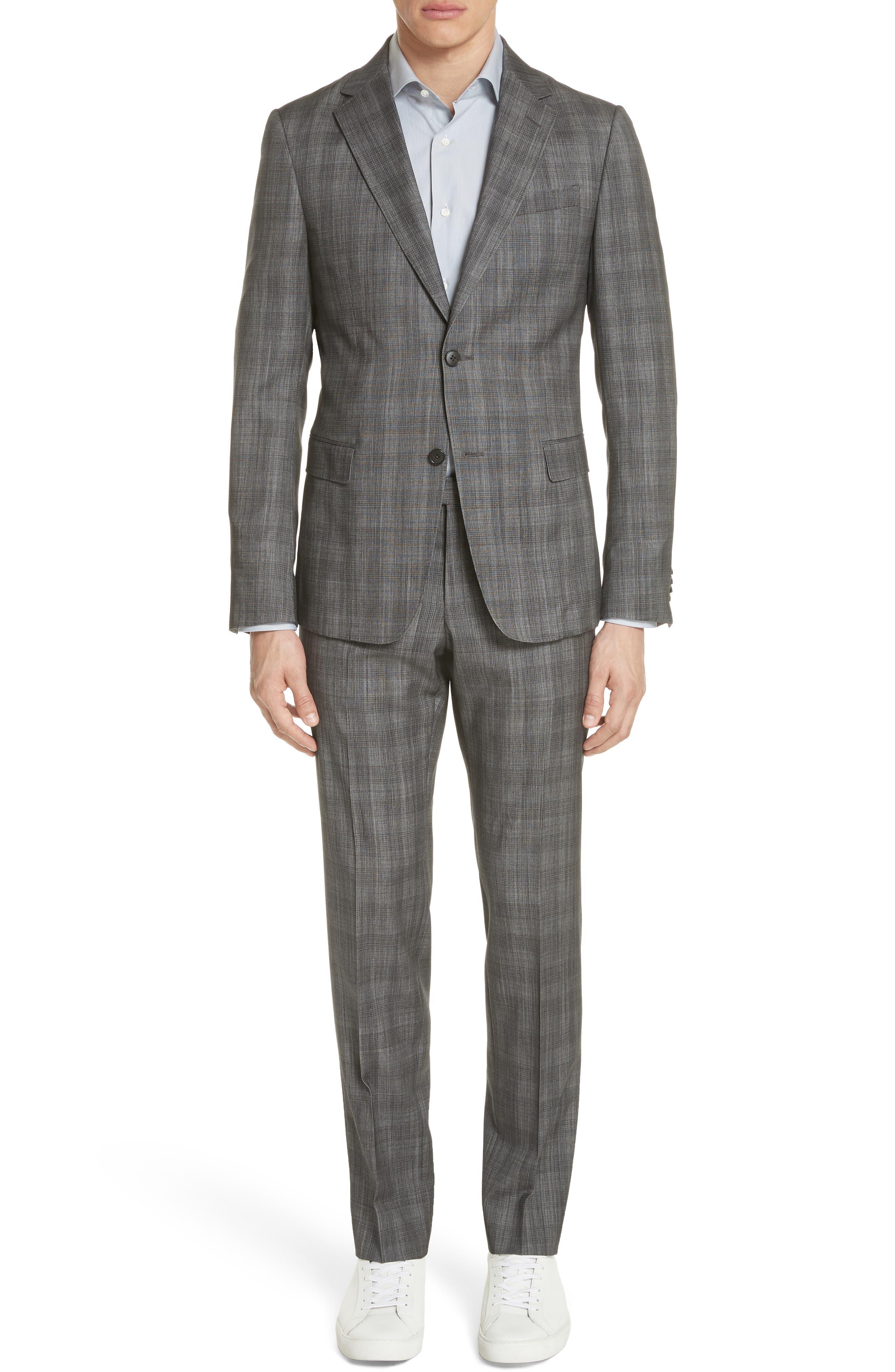 Classic Fit Plaid Wool & Silk Suit,                         Main,                         color, 026