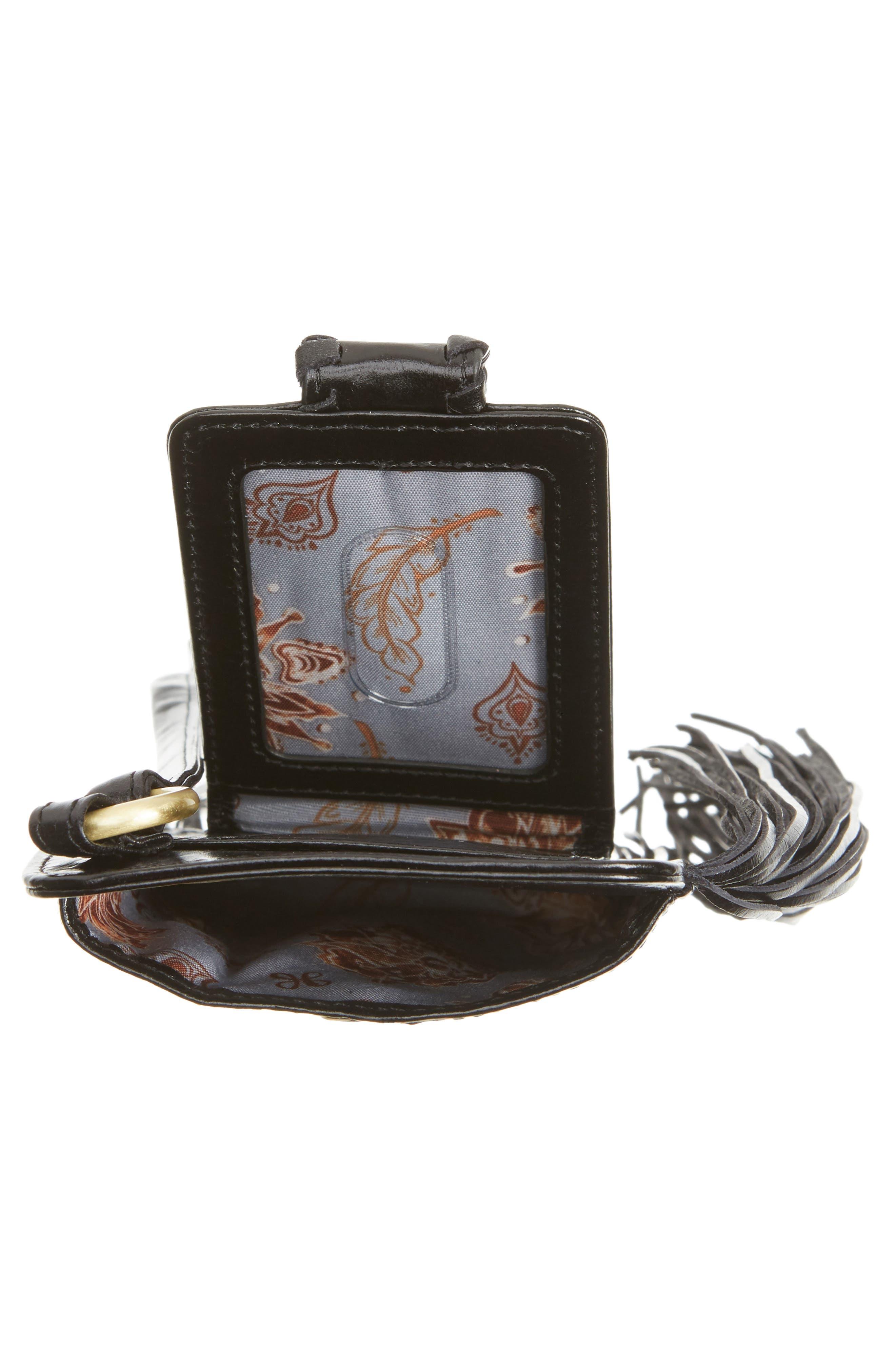 Plume Fringe Calfskin Leather Smartphone Wristlet,                             Alternate thumbnail 4, color,                             001