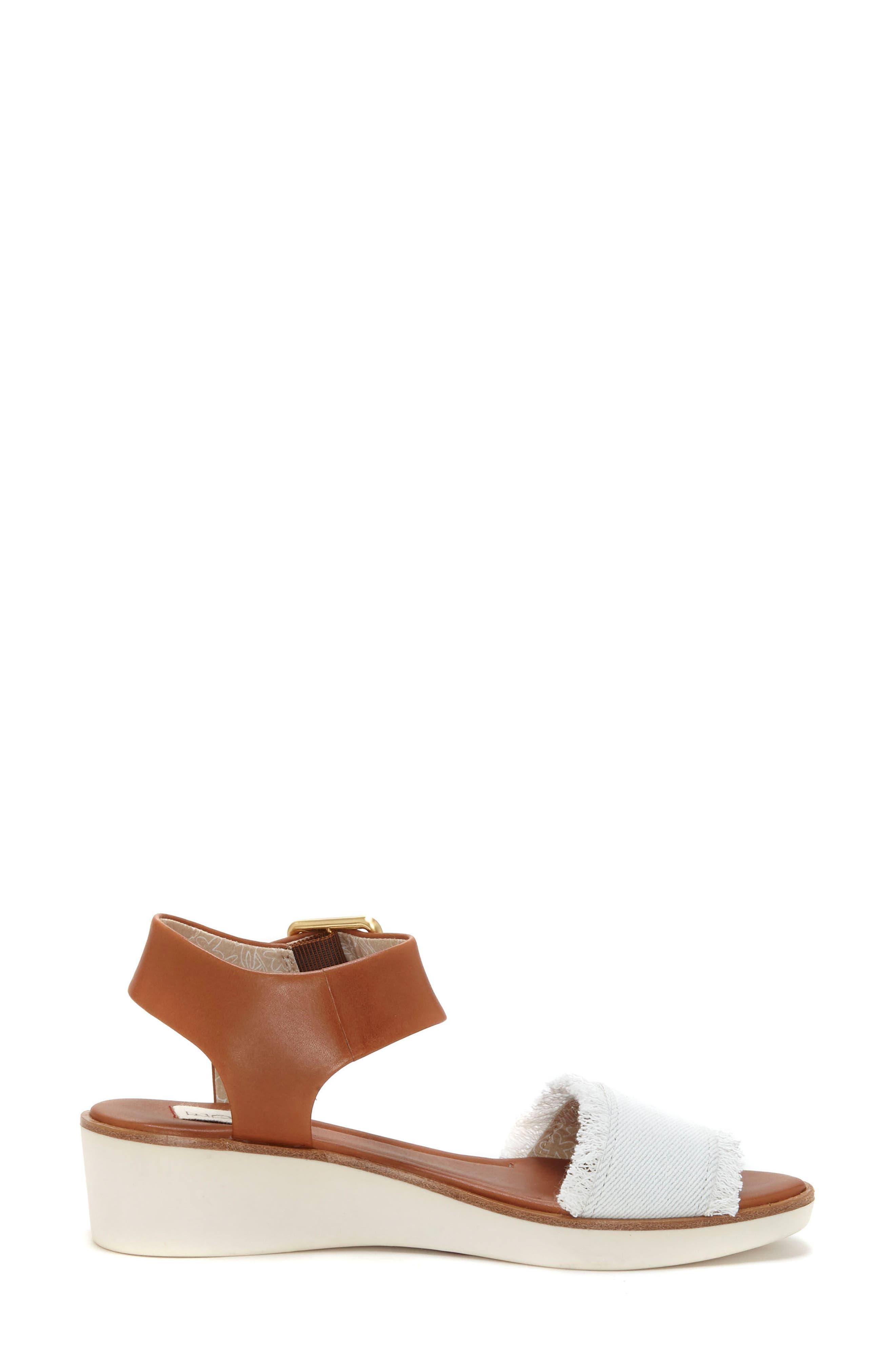 Satiana Sandal,                             Alternate thumbnail 3, color,                             PURE WHITE DENIM FABRIC