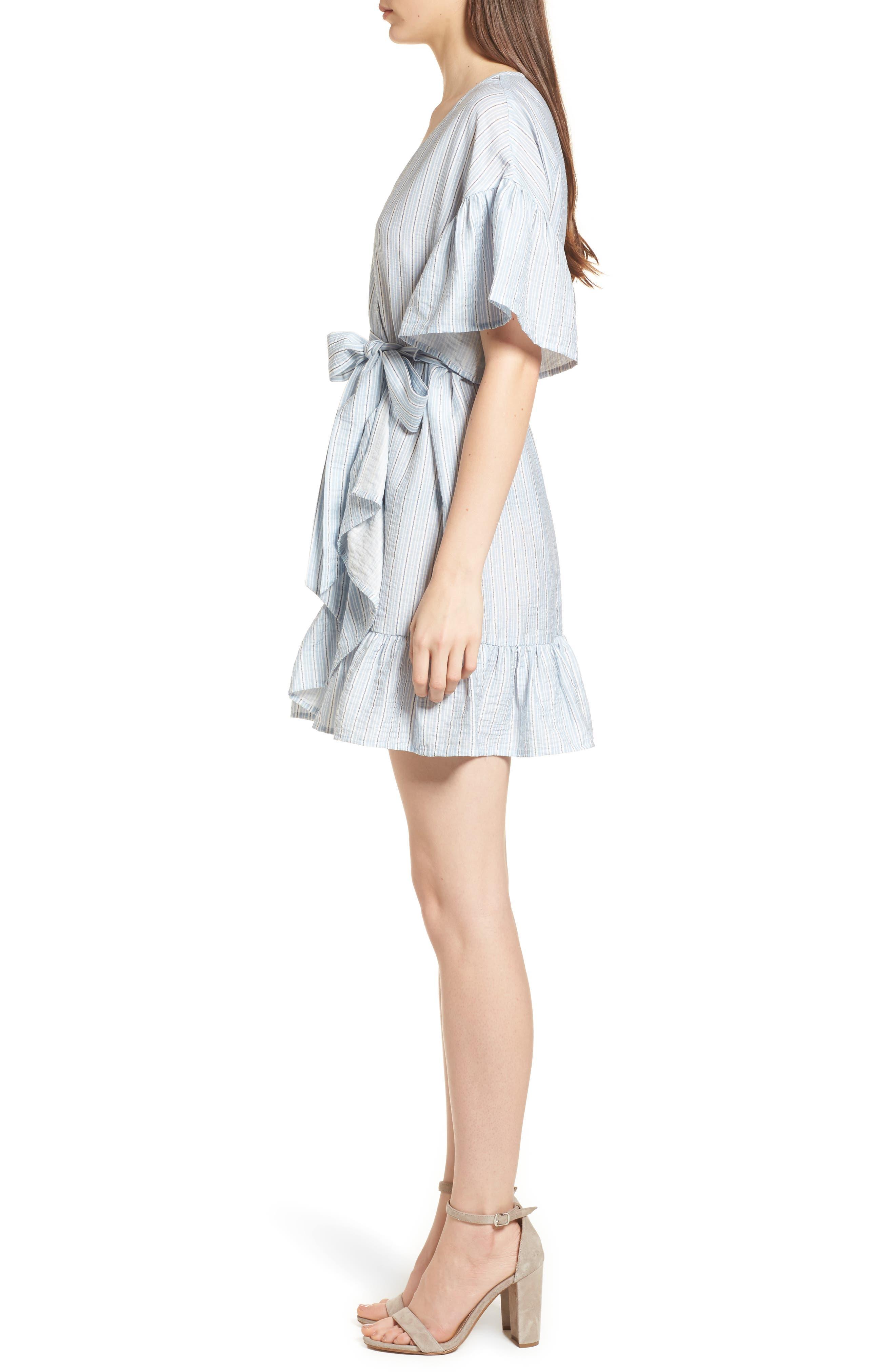 Stripe Ruffle Wrap Dress,                             Alternate thumbnail 3, color,                             400
