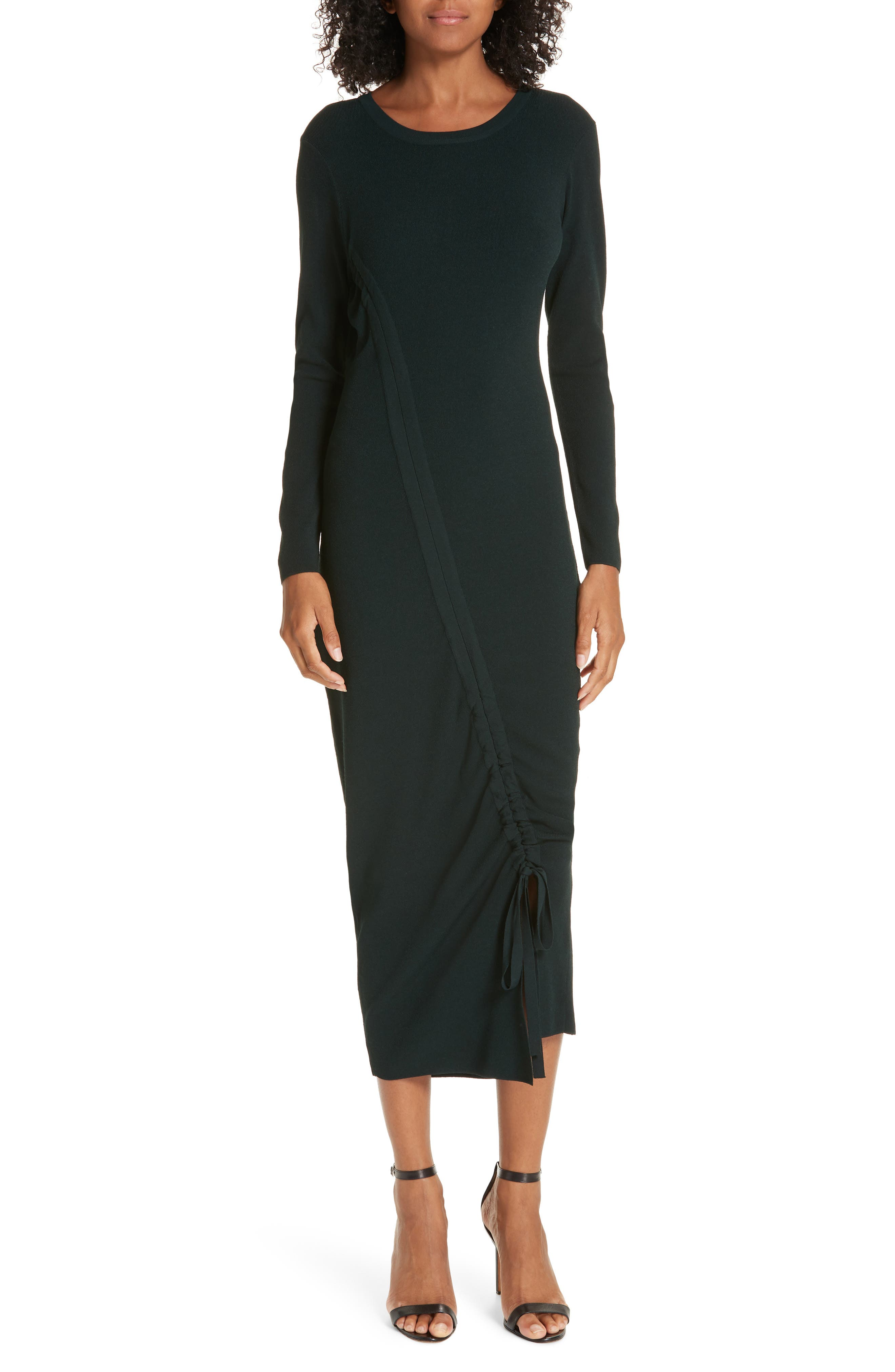 Milly Diagonal Ruched Tunnel Dress, Size Petite - Green