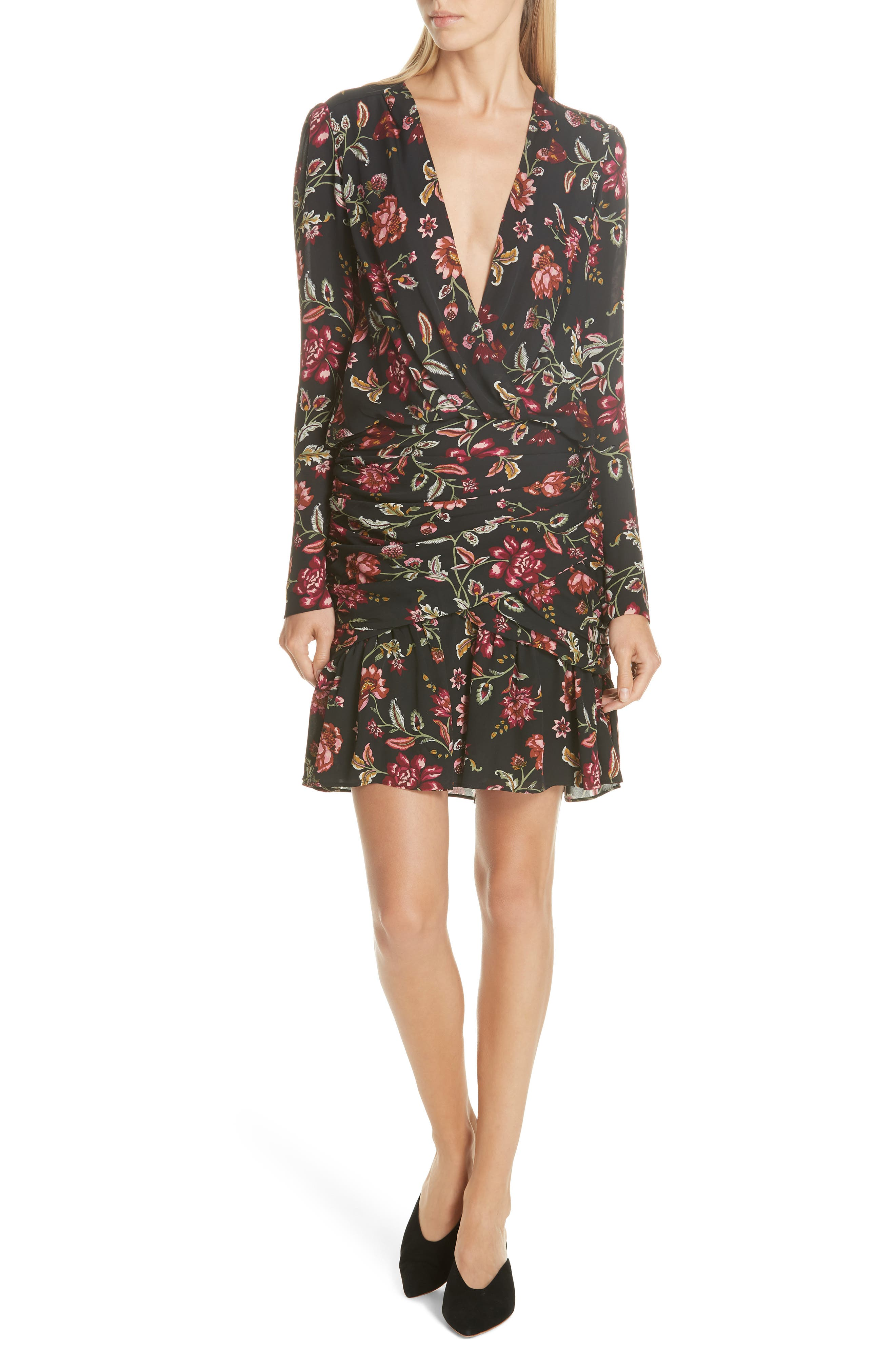 A.L.C Haven Shirred Floral Silk Cocktail Dress in Black/ Terracotta