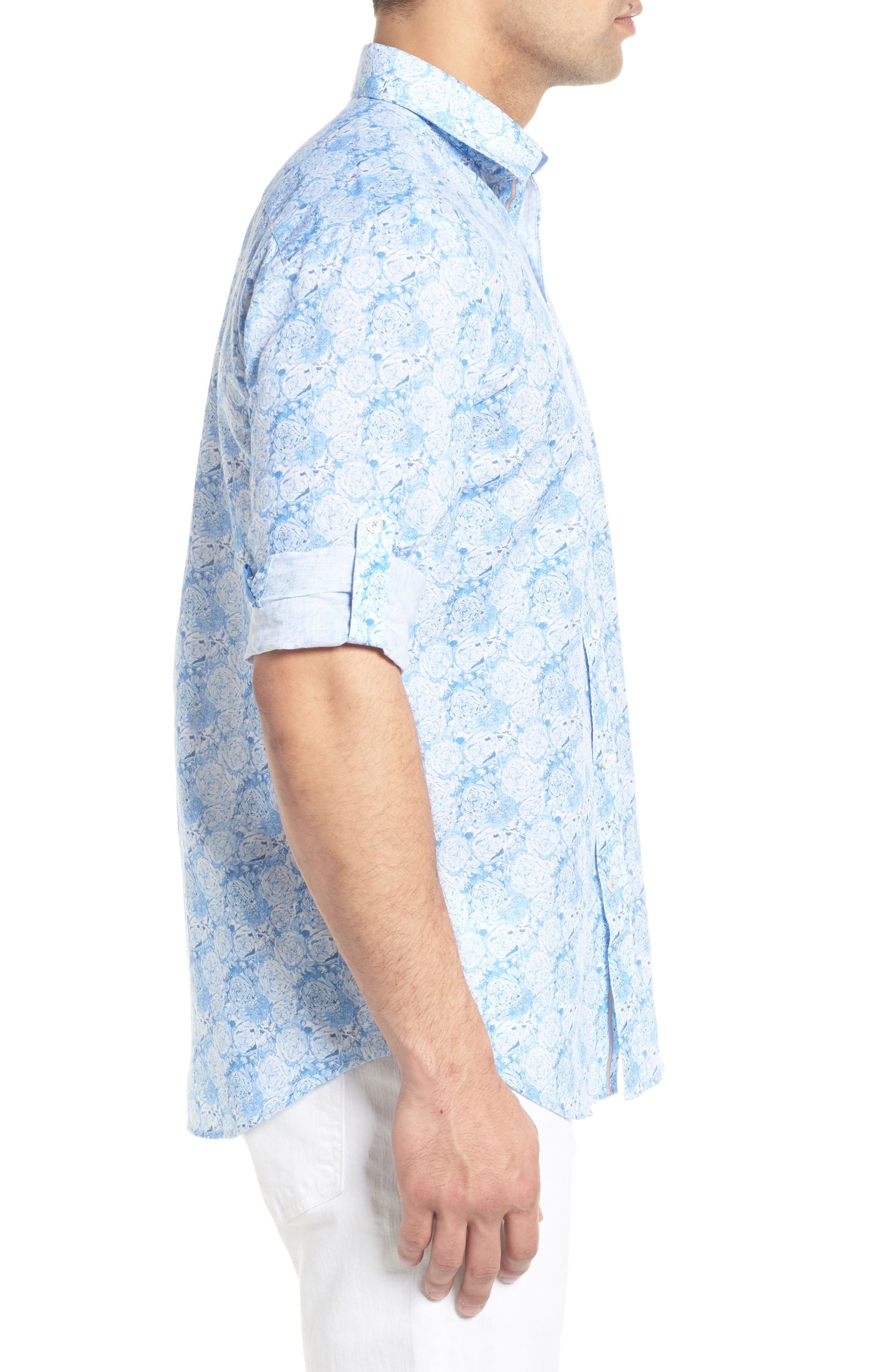 Shaped Fit Rose Print Linen Blend Sport Shirt,                             Alternate thumbnail 3, color,                             SKY