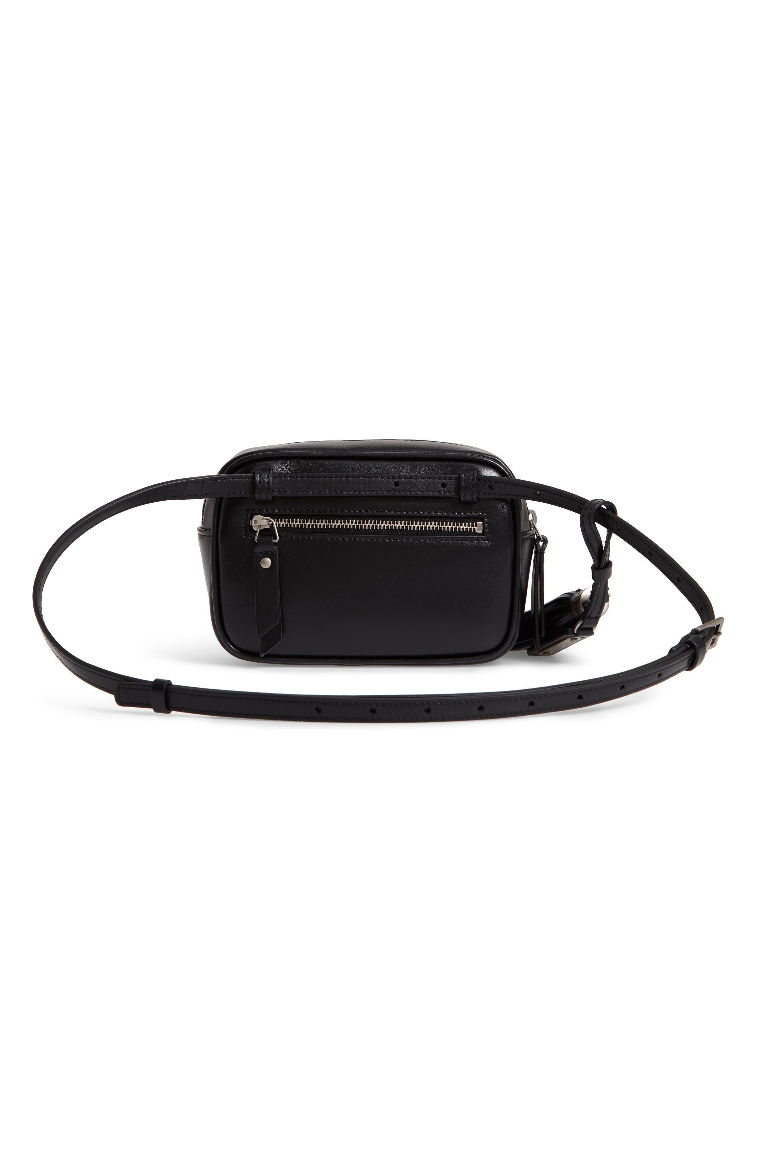 Micro Lou Stud Hearts Calfskin Leather Belt Bag,                             Alternate thumbnail 4, color,                             NOIR