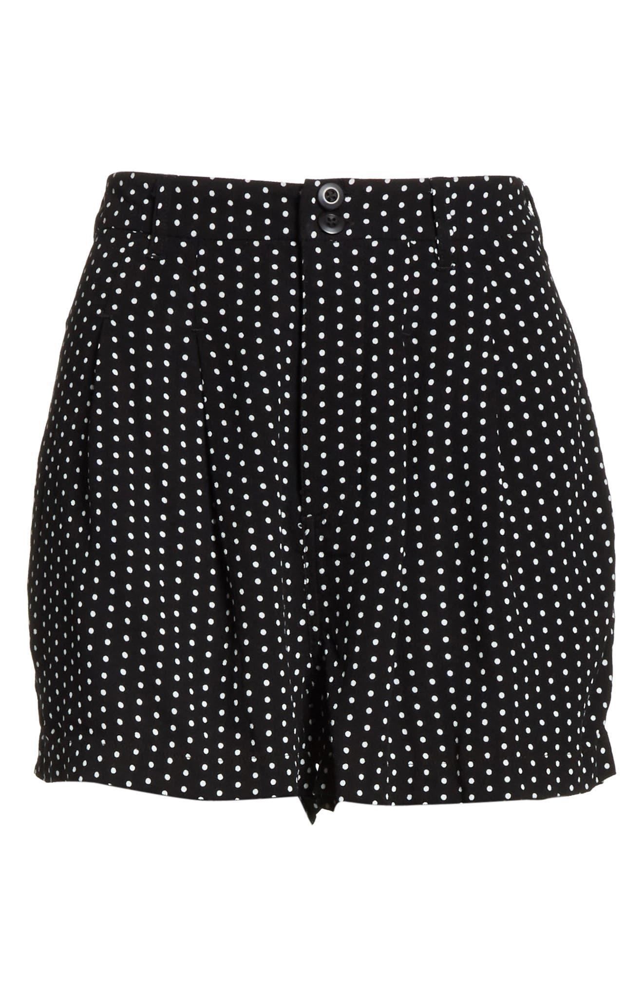 Magdalene Polka Dot Pleated Shorts,                             Alternate thumbnail 6, color,                             001