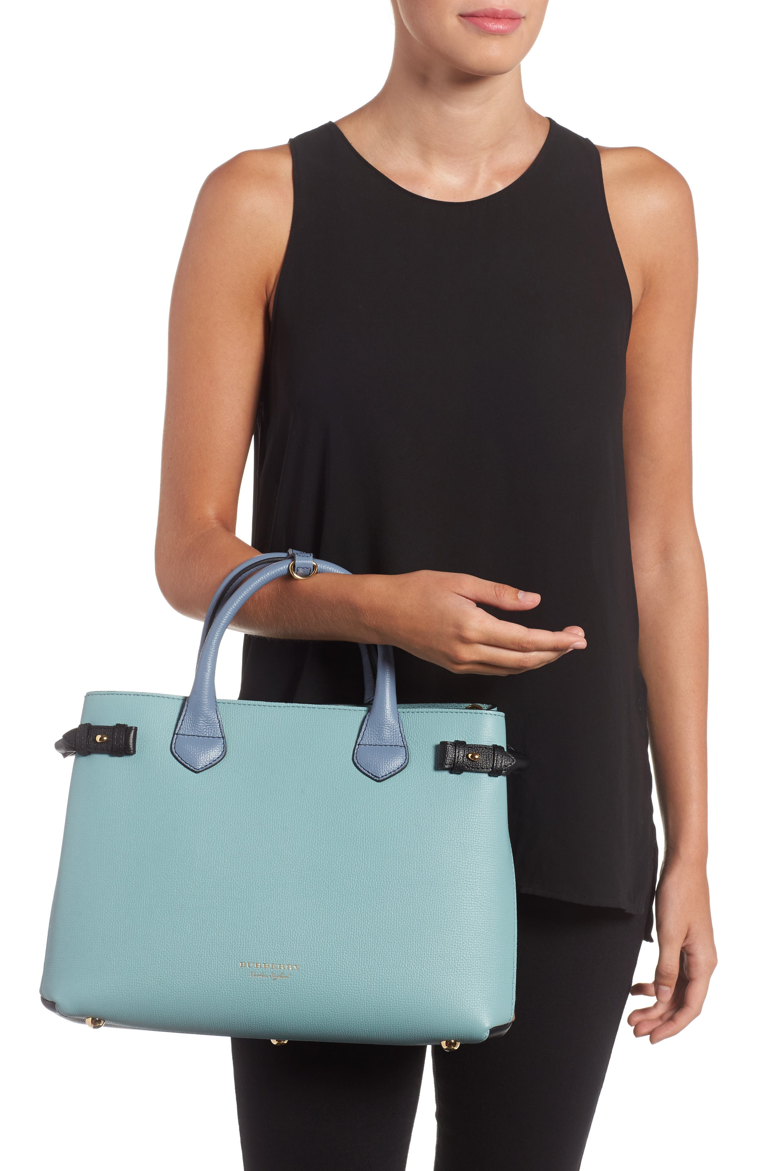 Medium Banner House Check & Leather Tote,                             Alternate thumbnail 2, color,                             453