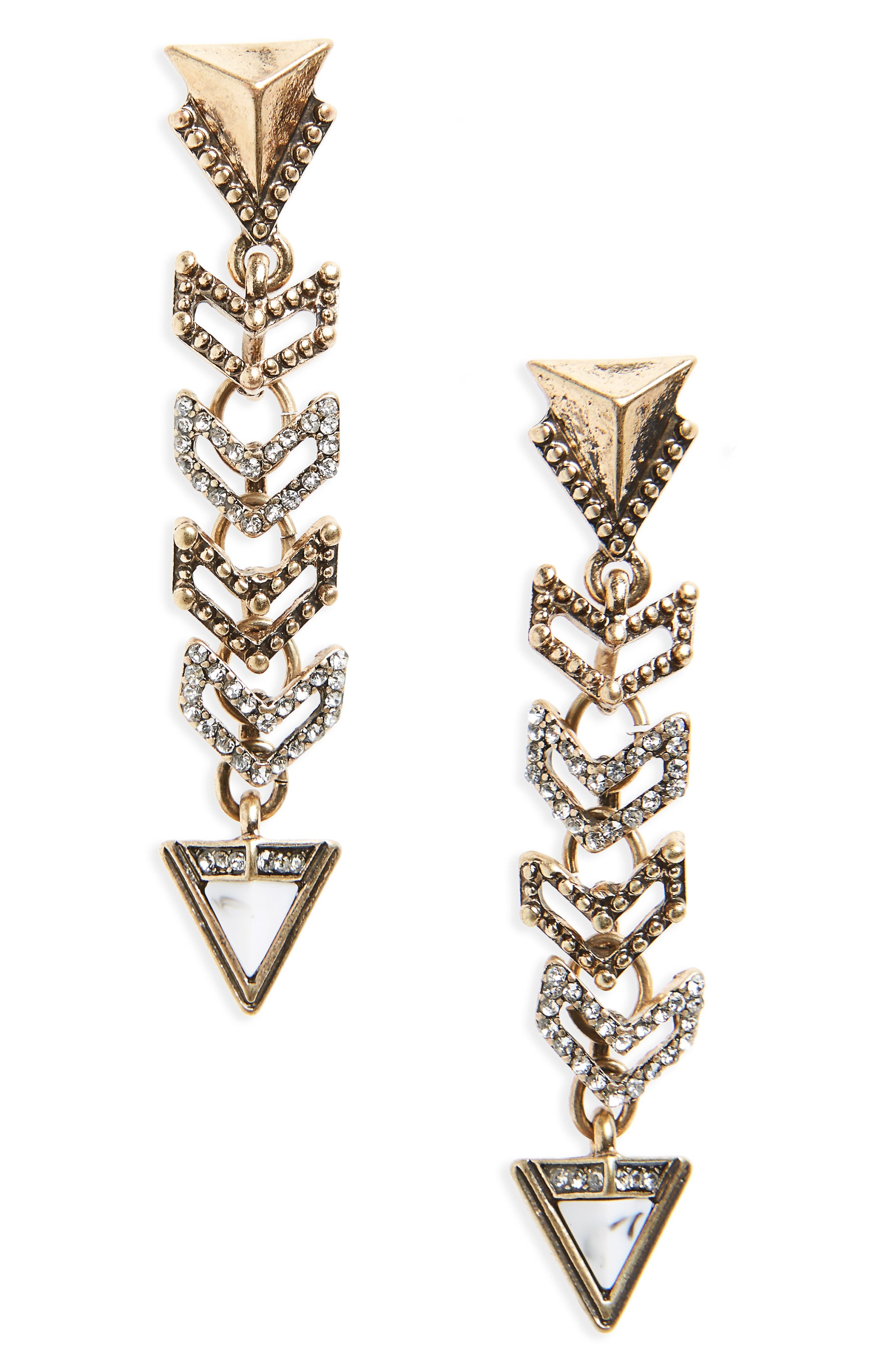 Crystal Triangle Linear Statement Earrings,                             Main thumbnail 1, color,                             001