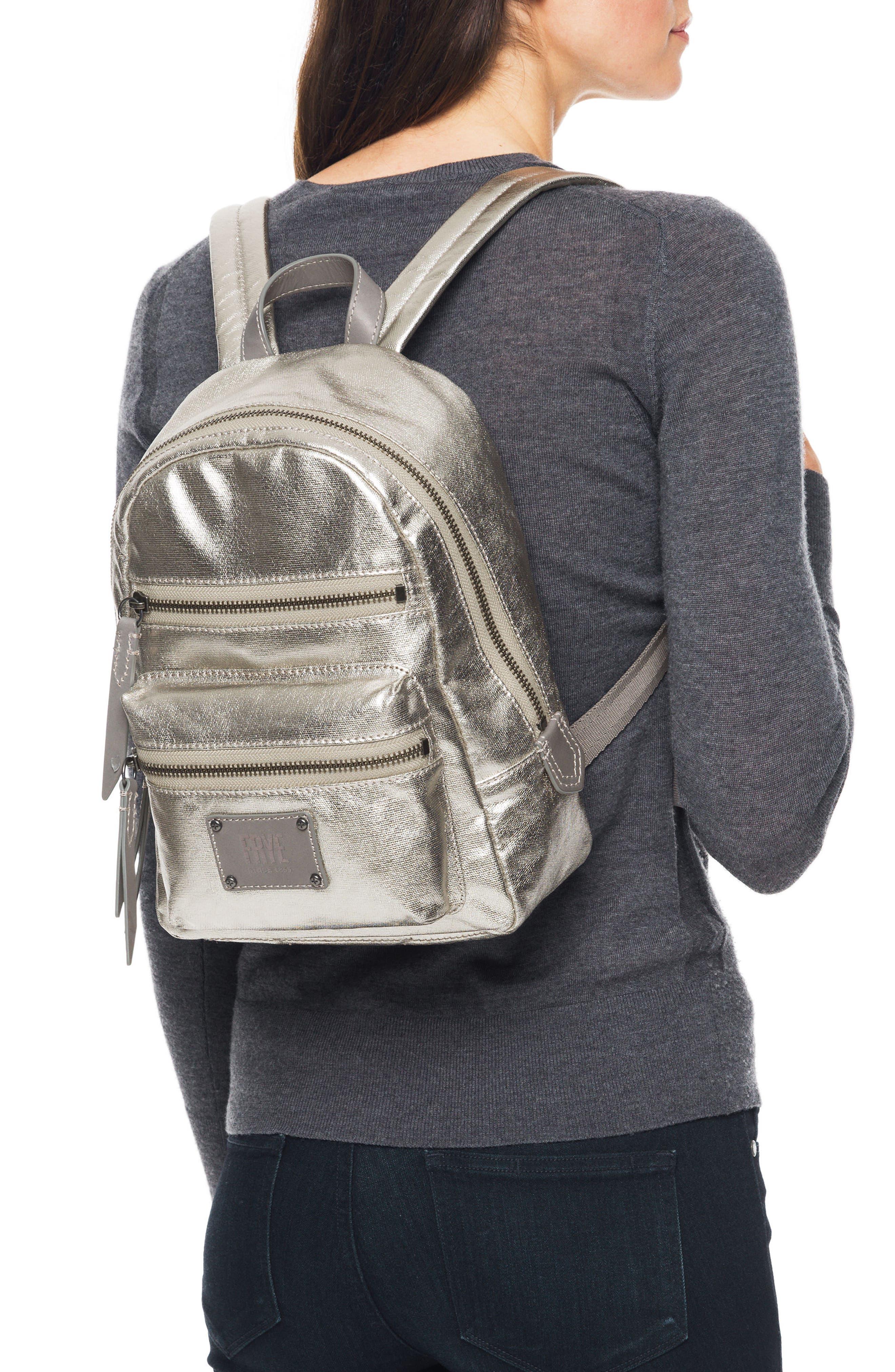 Mini Ivy Metallic Nylon Backpack,                             Alternate thumbnail 2, color,                             PEWTER