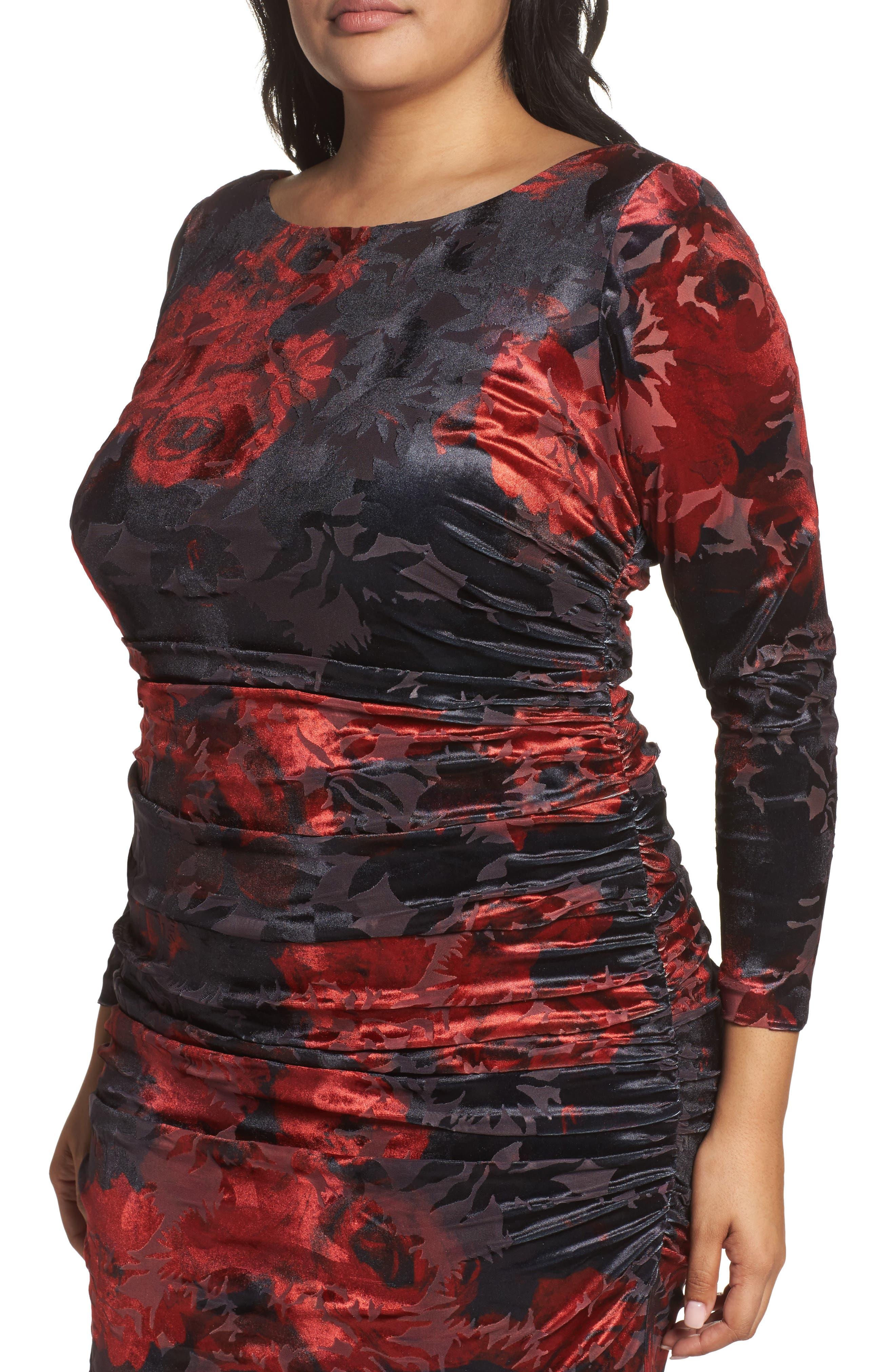 Adriana Papell Burnout Velvet Gown,                             Alternate thumbnail 4, color,