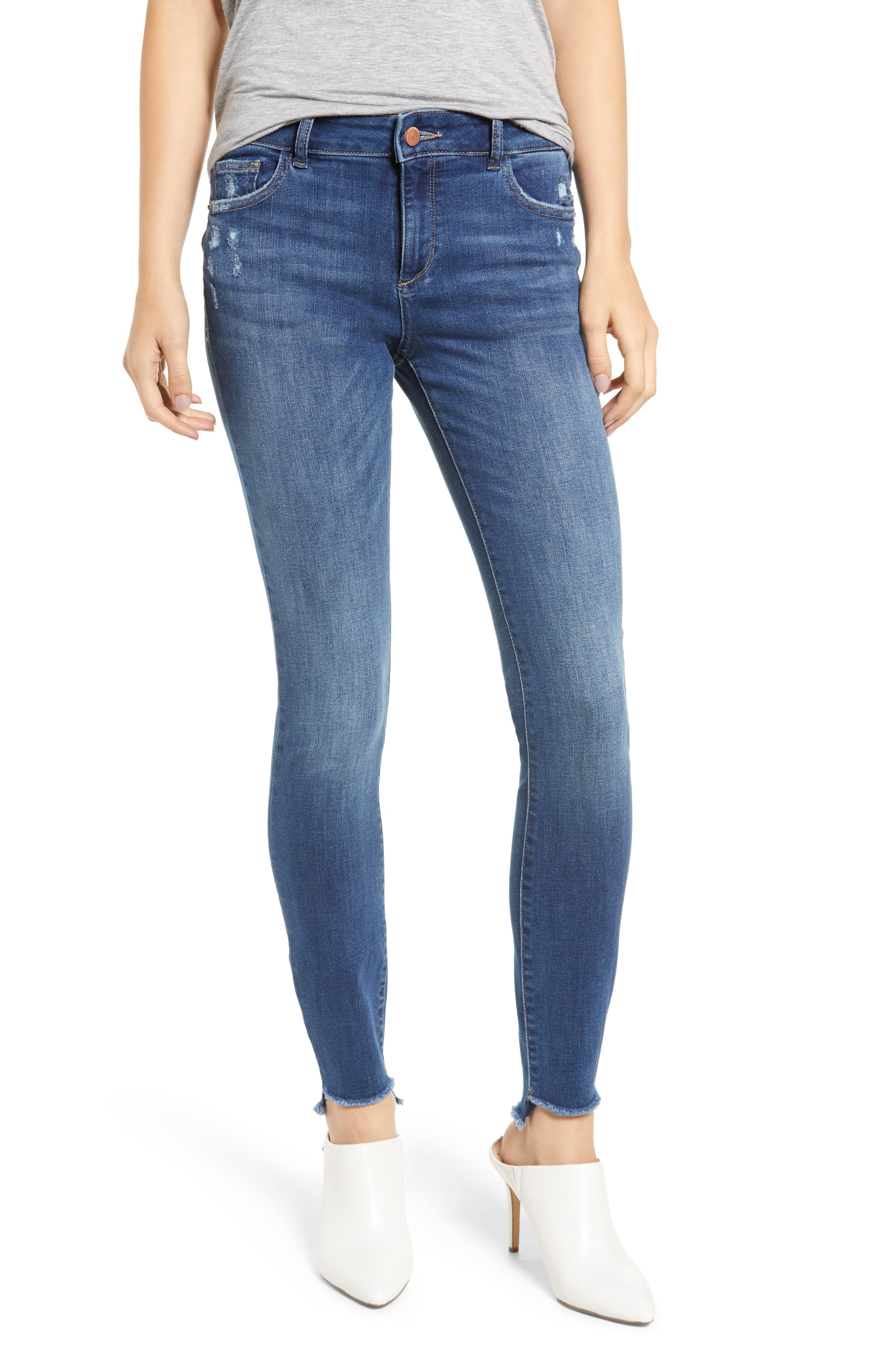 Florence Instasculpt High Waist Raw Step Hem Skinny Jeans,                         Main,                         color, 405