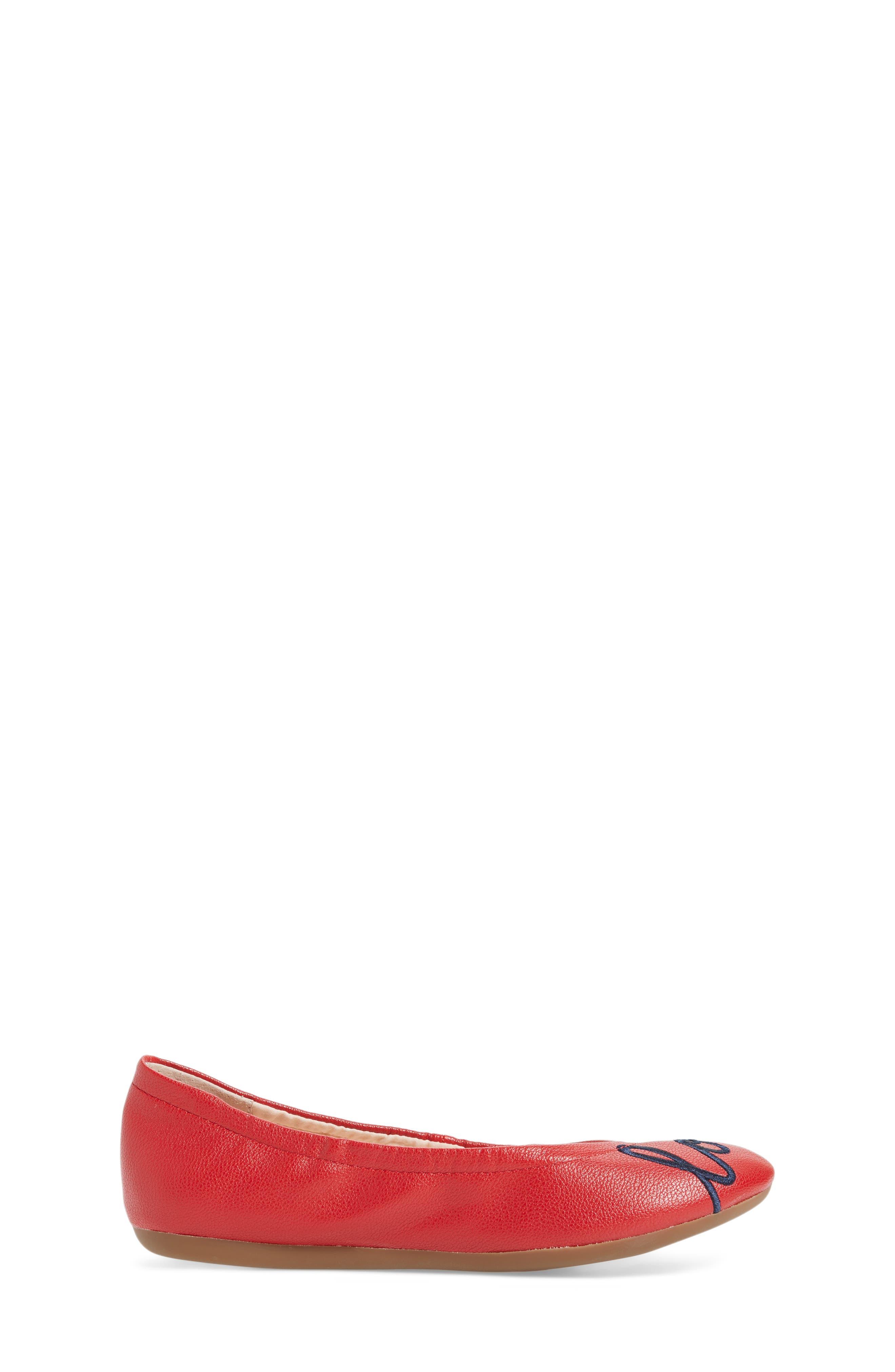 Langlee Embroidered Ballet Flat,                             Alternate thumbnail 3, color,                             SALSA