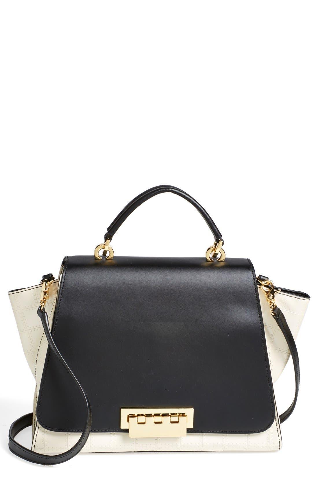 'Eartha' Colorblock Leather Top Handle Satchel,                             Main thumbnail 1, color,                             100