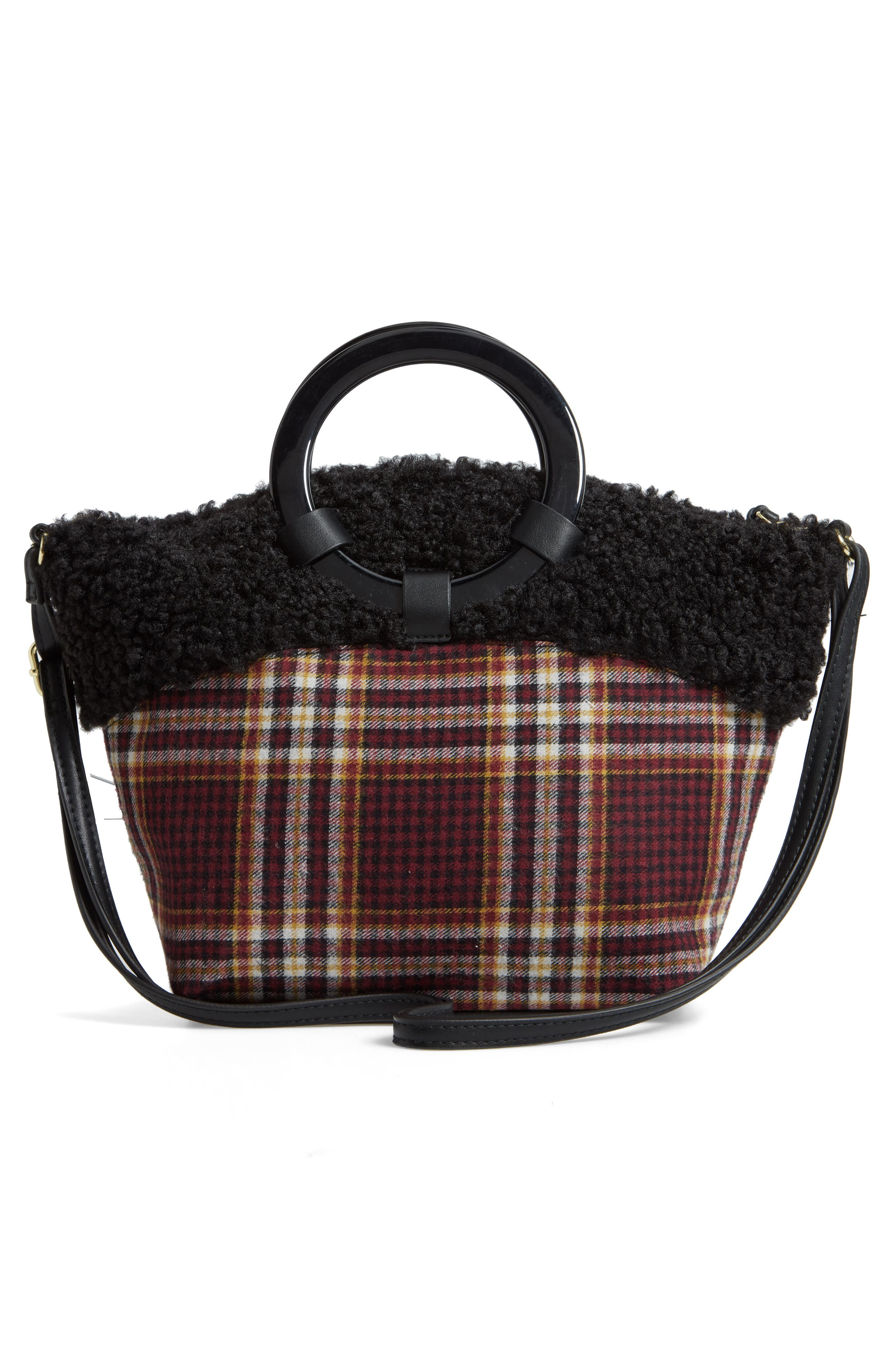 Ring Handle Plaid Tote with Faux Shearling Trim,                             Alternate thumbnail 3, color,                             605