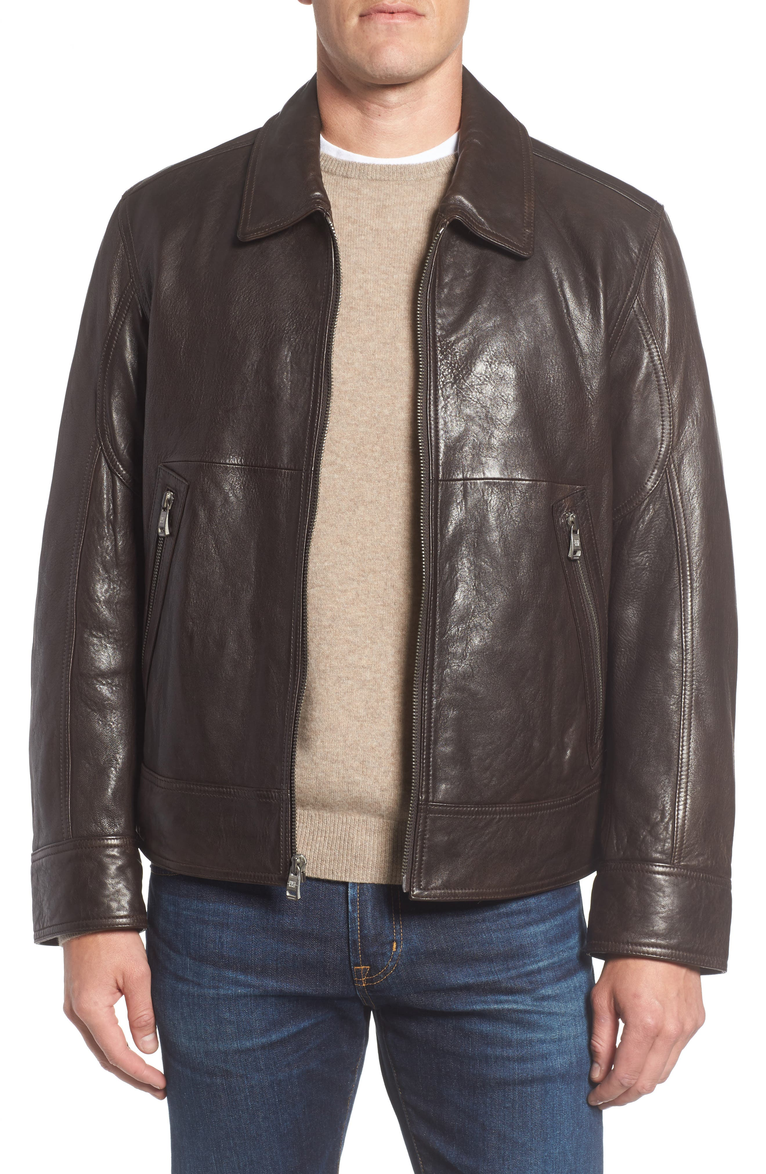 Morrison Spread Collar Leather Jacket,                             Main thumbnail 1, color,                             200
