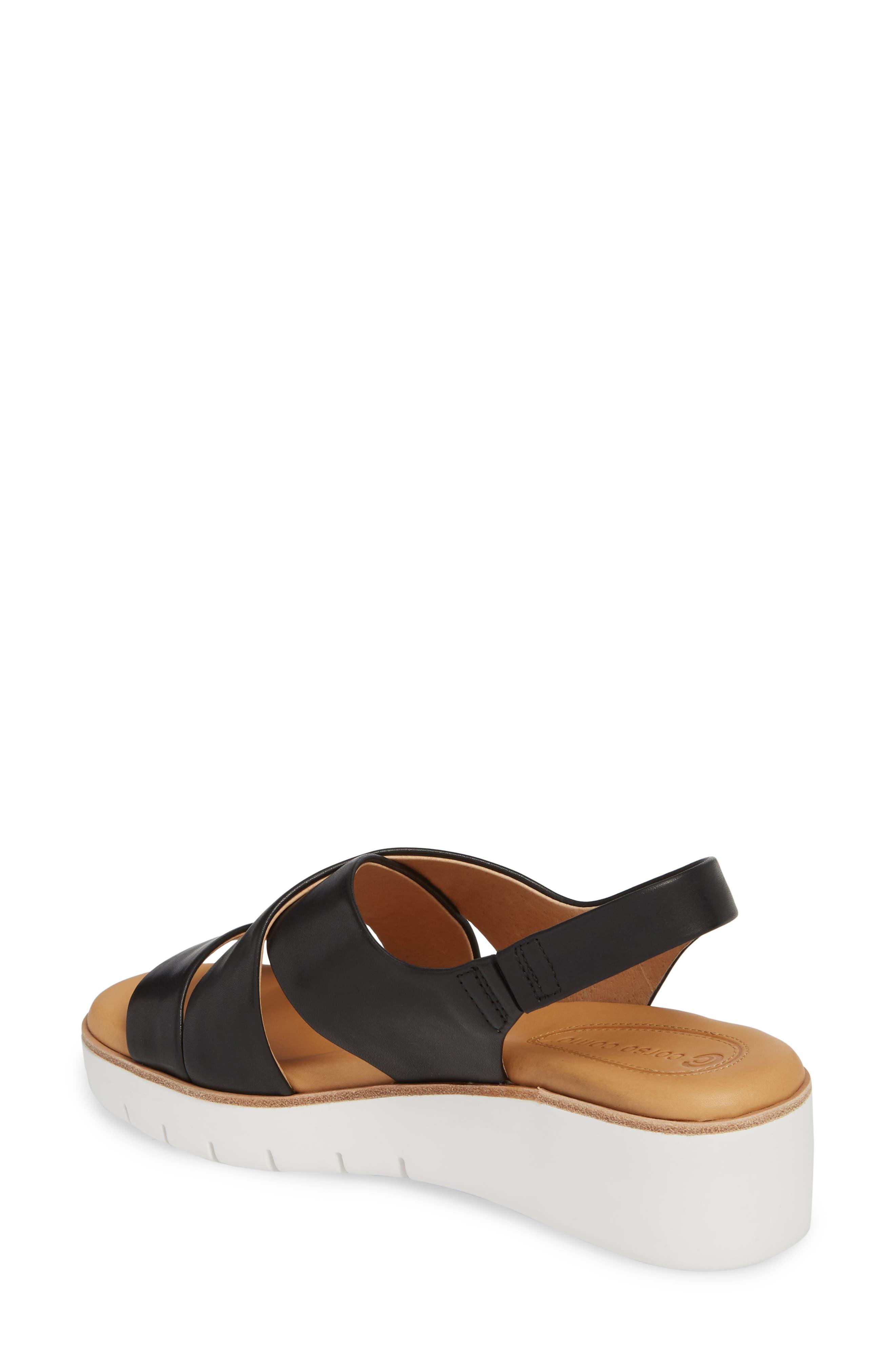Brinney Wedge Sandal,                             Alternate thumbnail 2, color,                             BLACK LEATHER