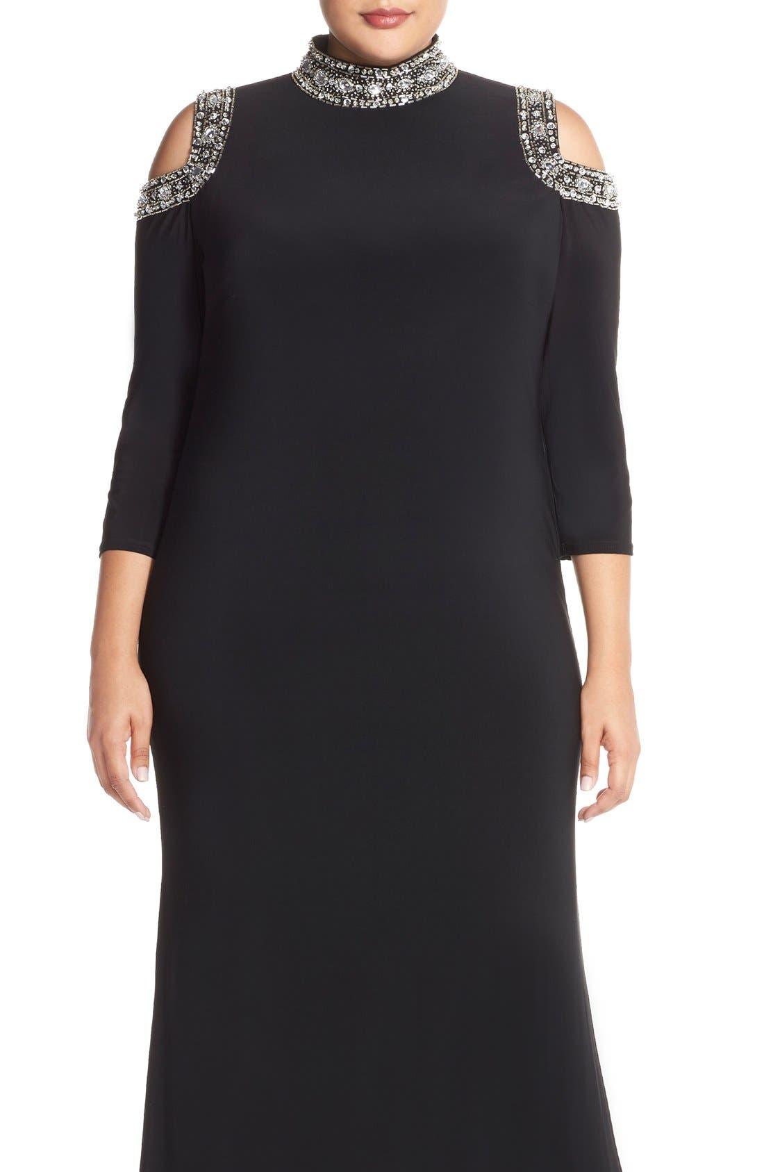 Embellished Neck Cold Shoulder Gown,                             Alternate thumbnail 4, color,                             001
