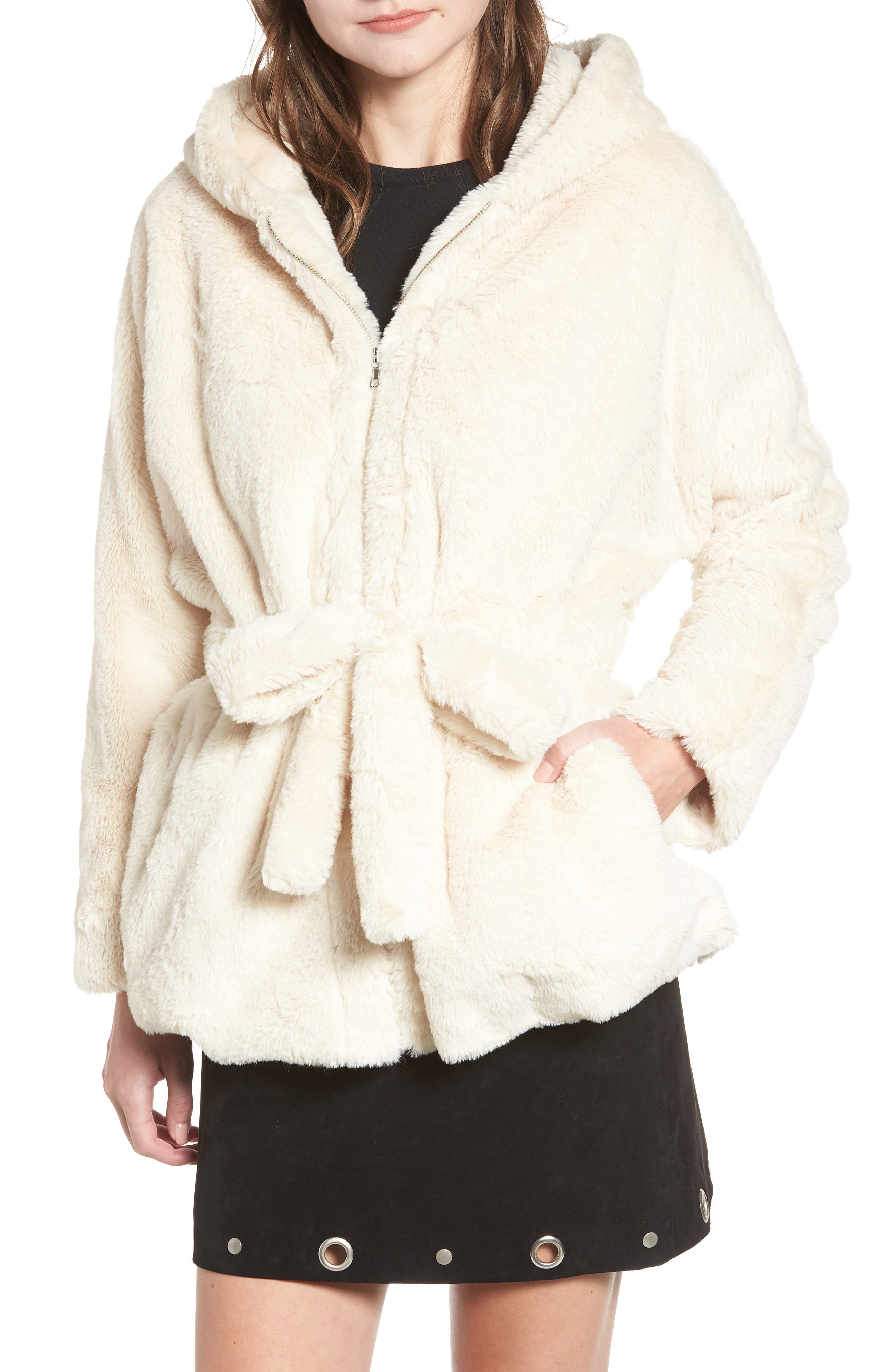MOON RIVER Faux Fur Hooded Jacket in Cream