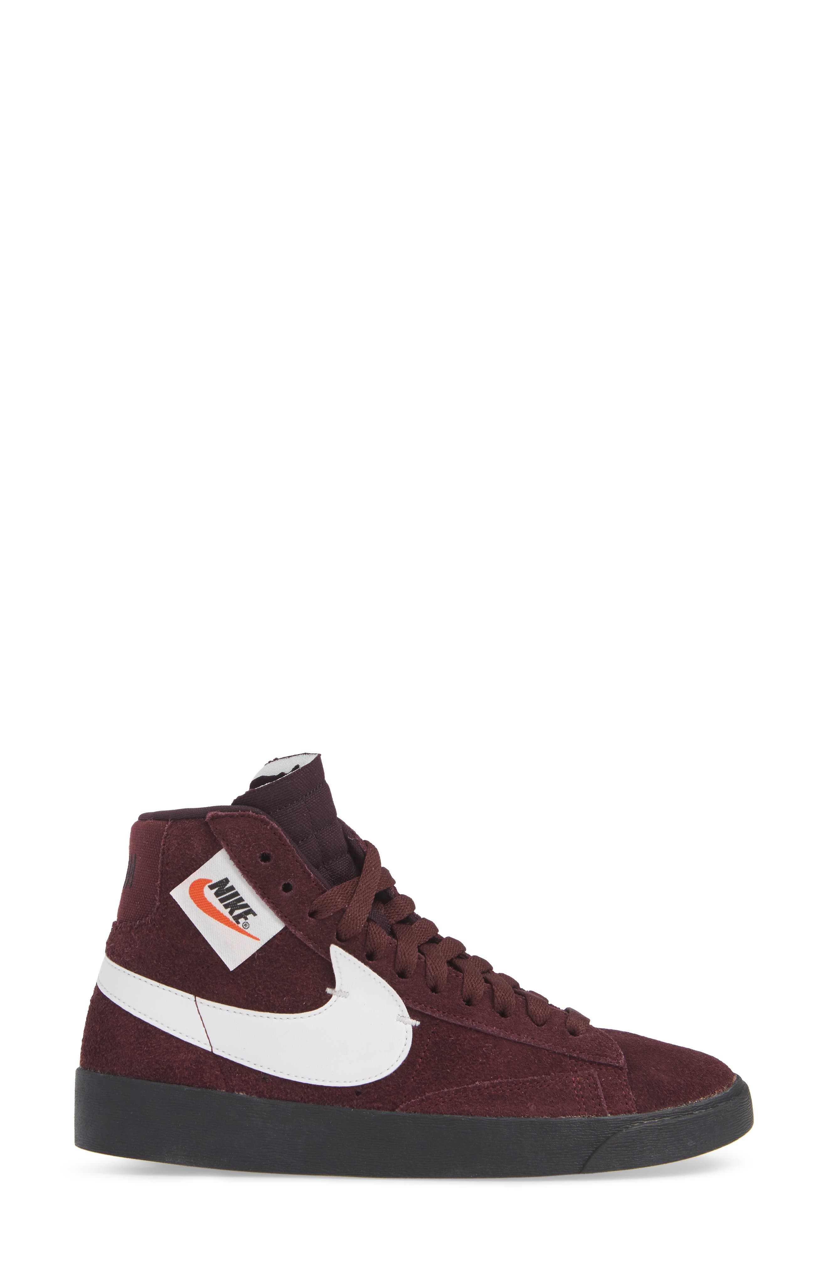 Blazer Mid Rebel Sneaker,                             Alternate thumbnail 3, color,                             BURGUNDY CRUSH/ ASH- WHITE