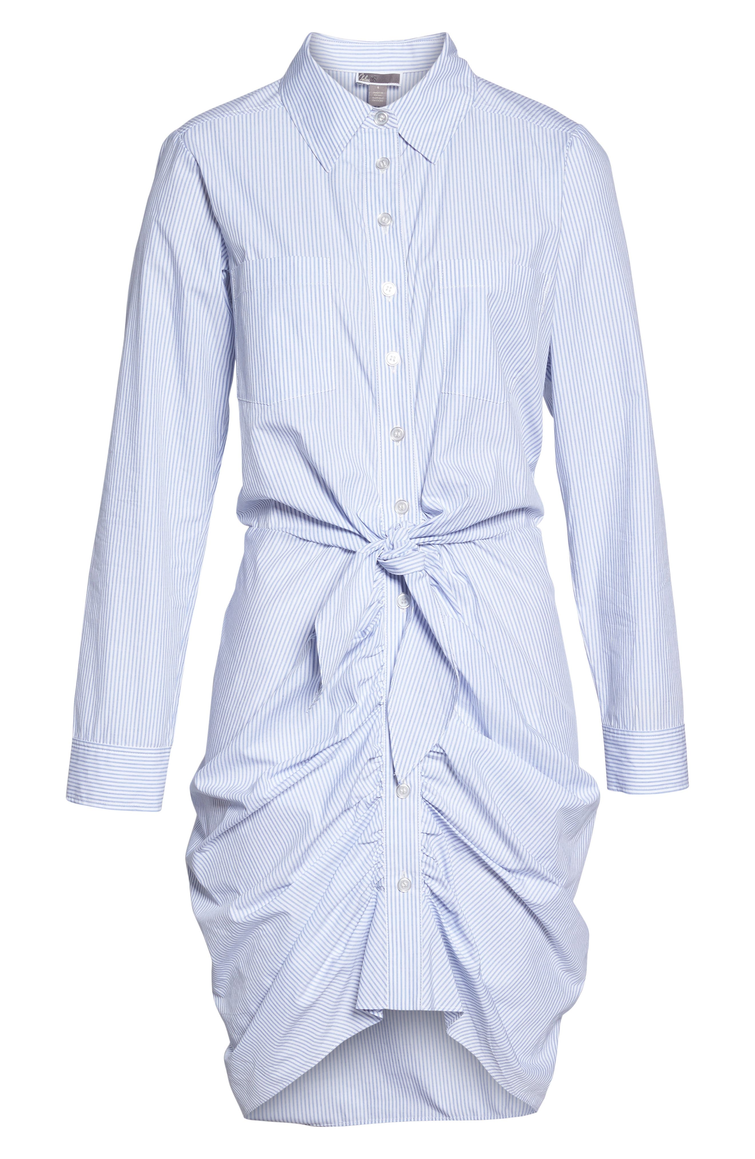 Ruched Tie Waist Shirtdress,                             Alternate thumbnail 6, color,                             450