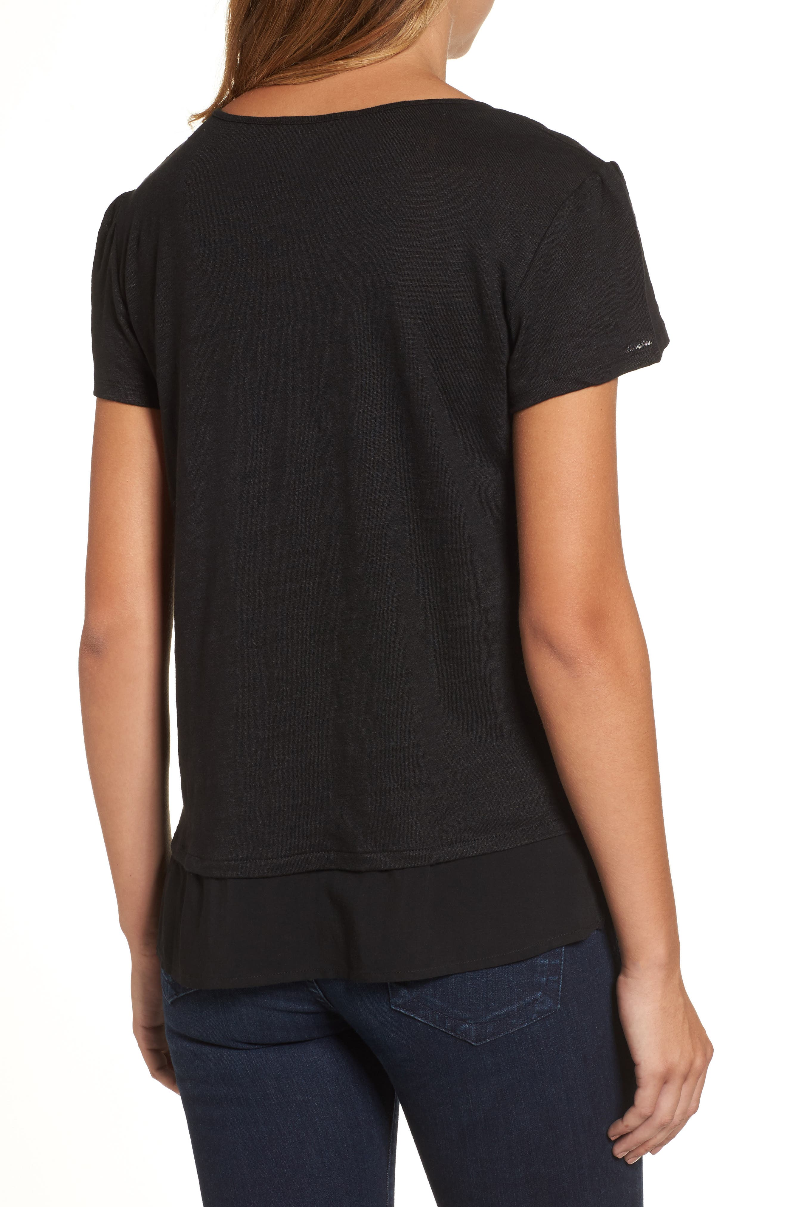 Uptown Tiered Hem Linen Tee,                             Alternate thumbnail 2, color,                             BLACK