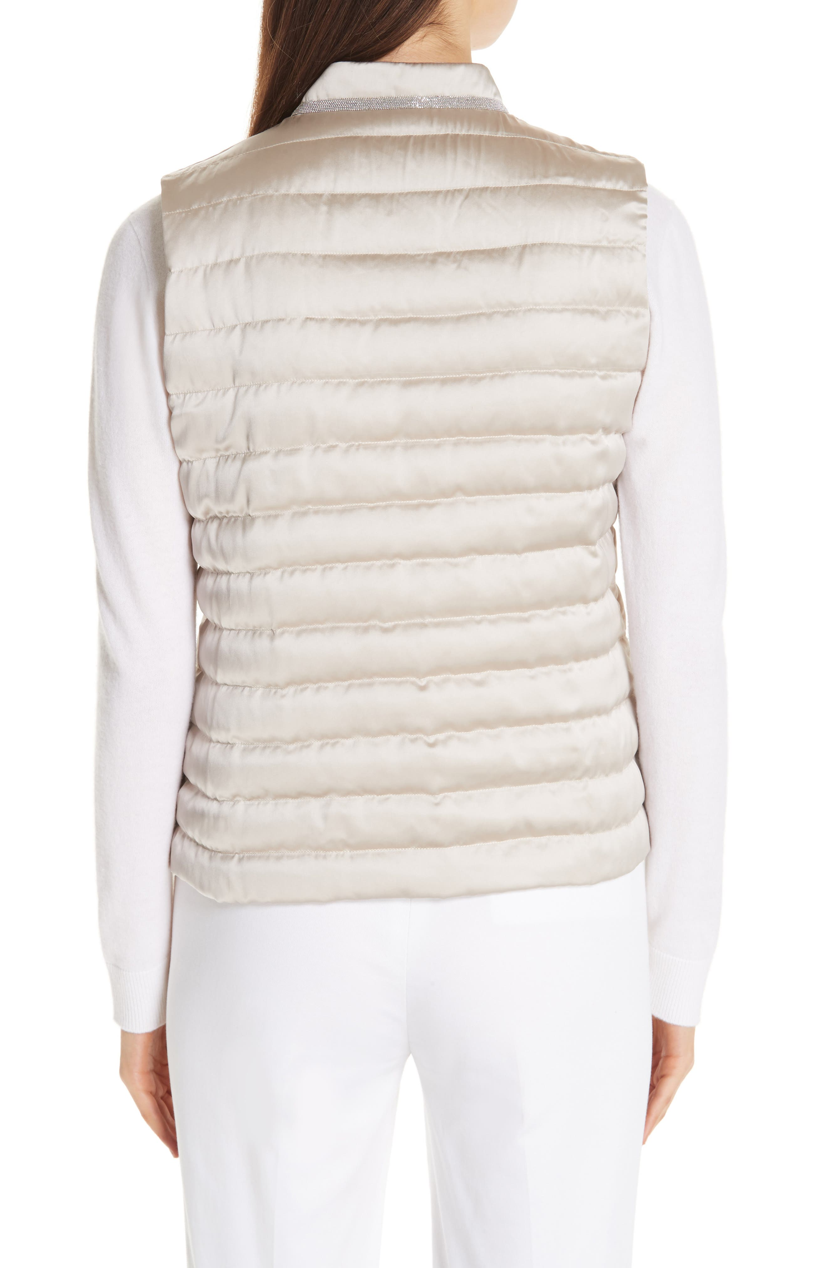 Quilted Satin Vest Front,                             Alternate thumbnail 2, color,                             CHAMPAGNE