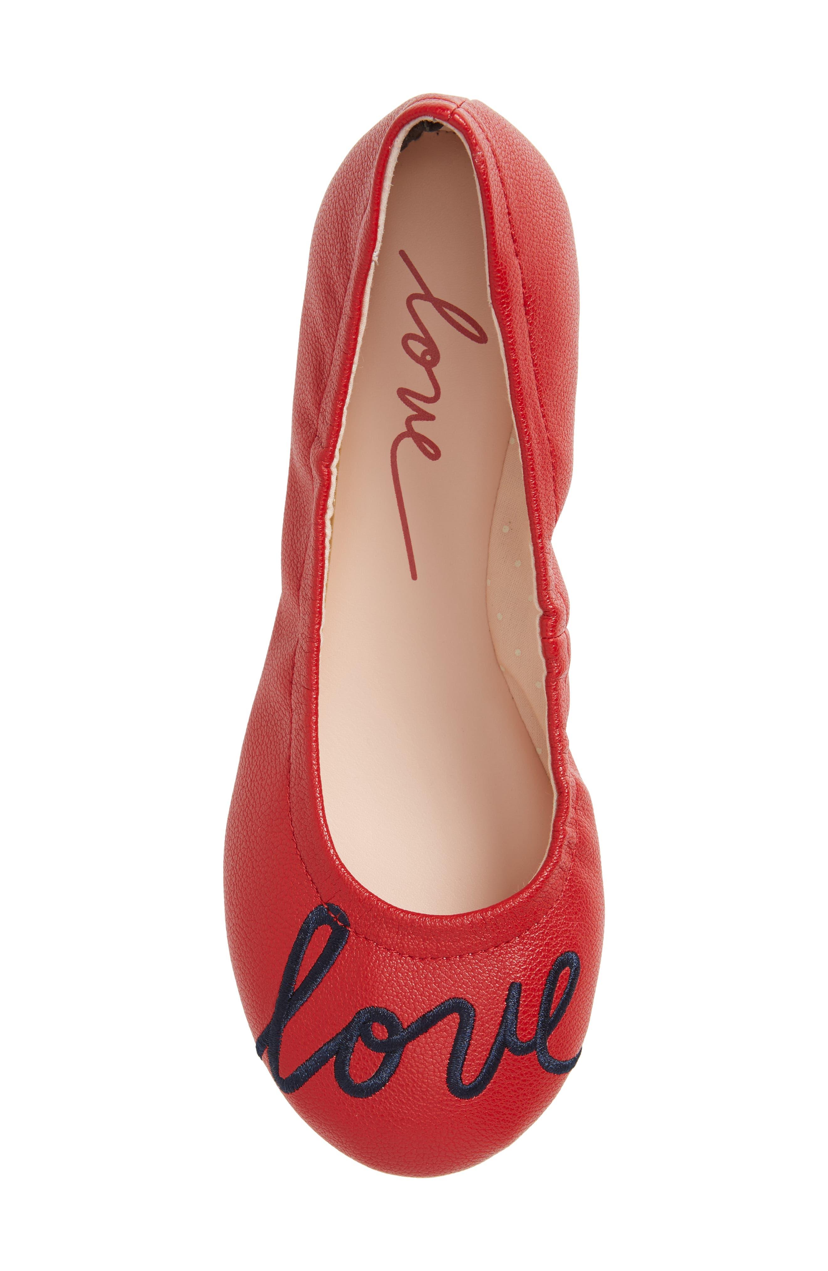 Langlee Embroidered Ballet Flat,                             Alternate thumbnail 5, color,                             SALSA