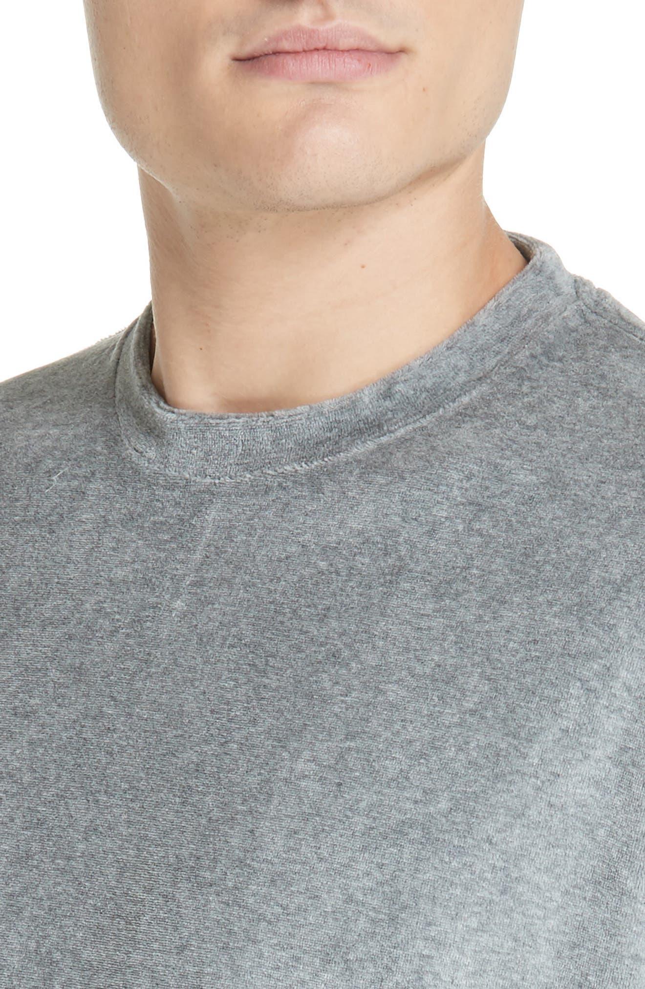 Velour T-Shirt,                             Alternate thumbnail 4, color,                             HEATHER GREY