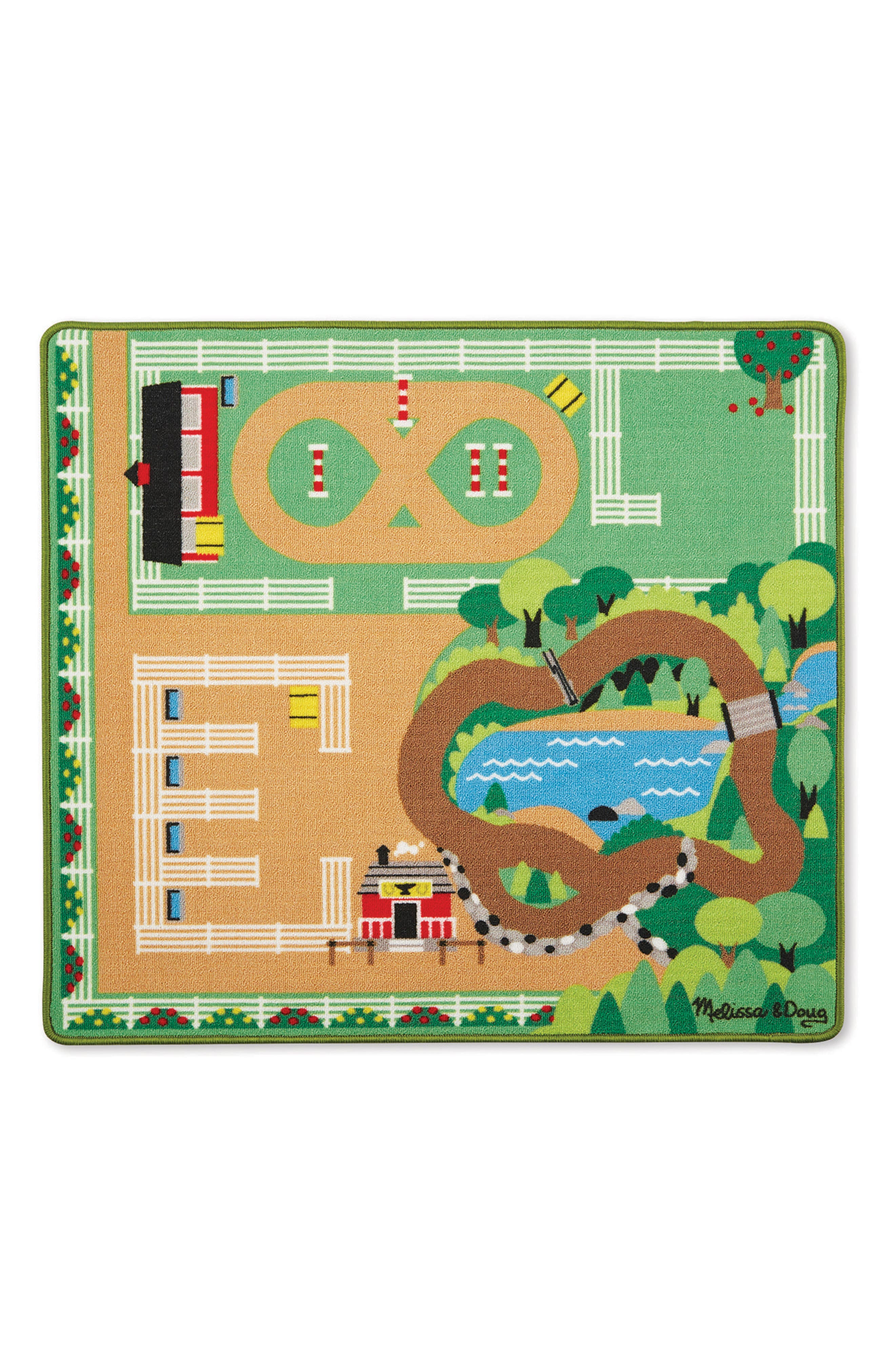 Round the Ranch Horse Activity Rug & Wooden Truck Set,                             Main thumbnail 1, color,