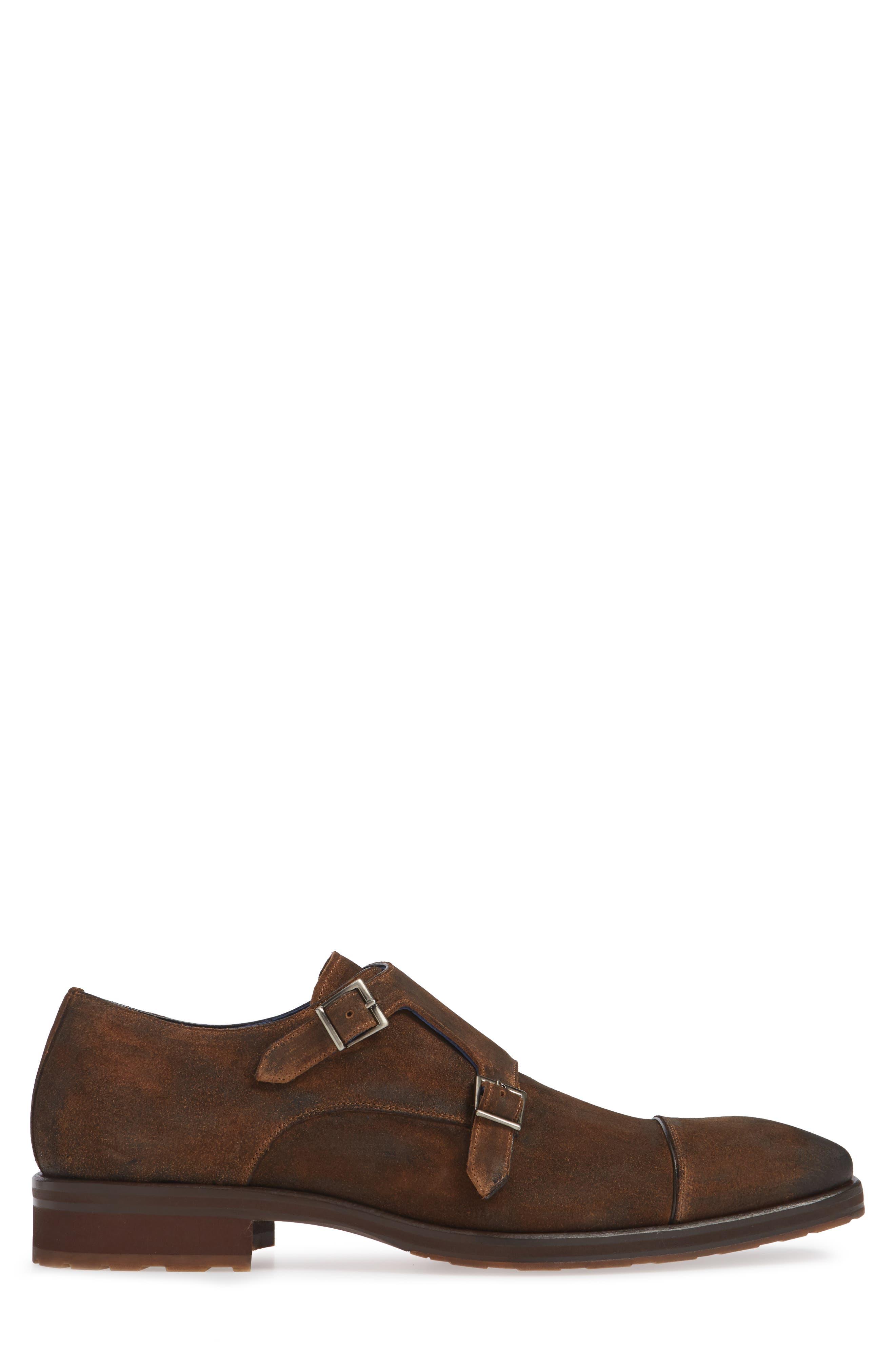 Miguel Double Monk Strap Shoe,                             Alternate thumbnail 3, color,                             TAN SUEDE