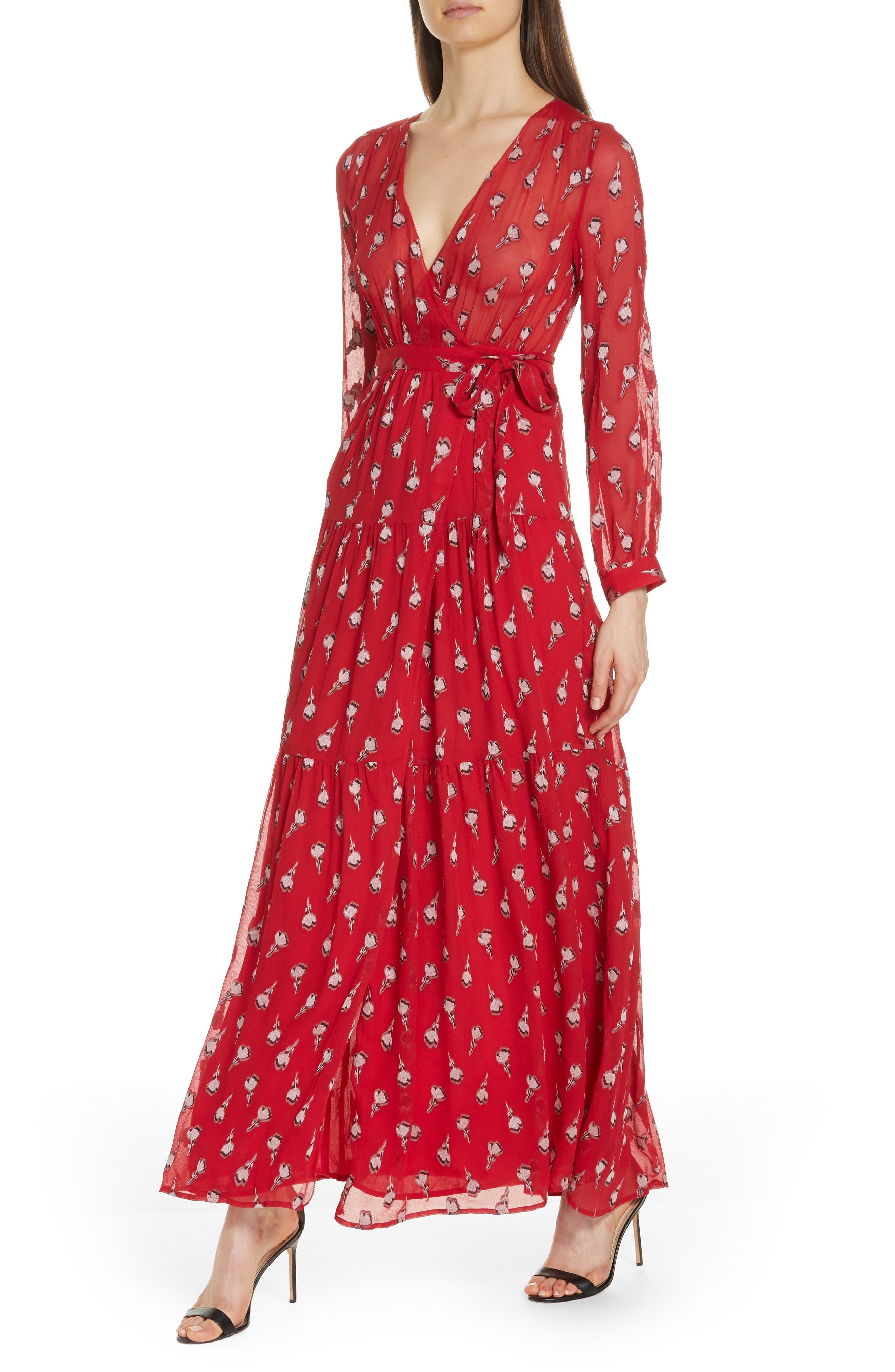 Madona Floral Surplice Silk Blend Chiffon Maxi Dress,                             Alternate thumbnail 4, color,                             600