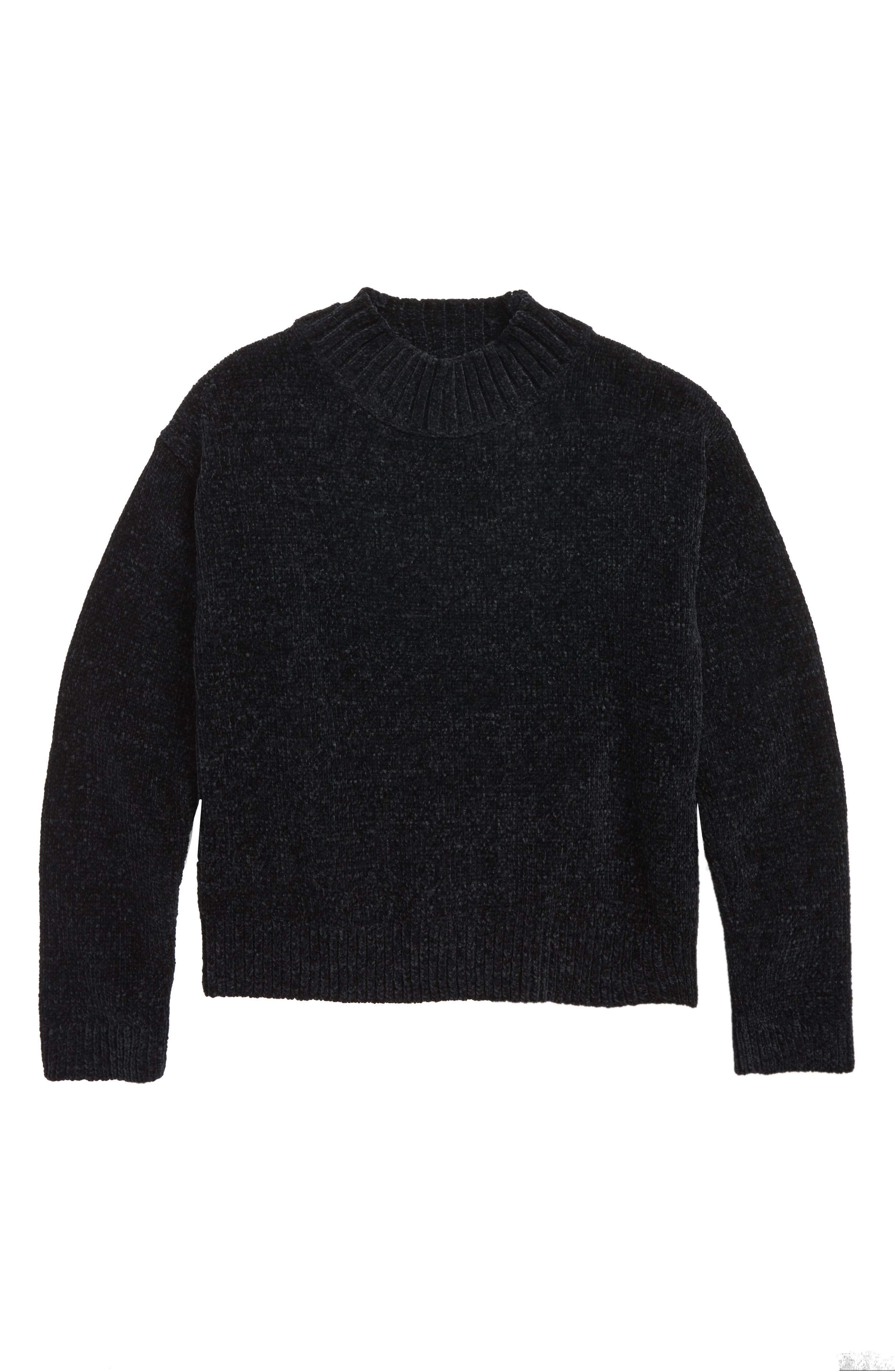 Chenille Mock Neck Sweater,                             Main thumbnail 1, color,                             001
