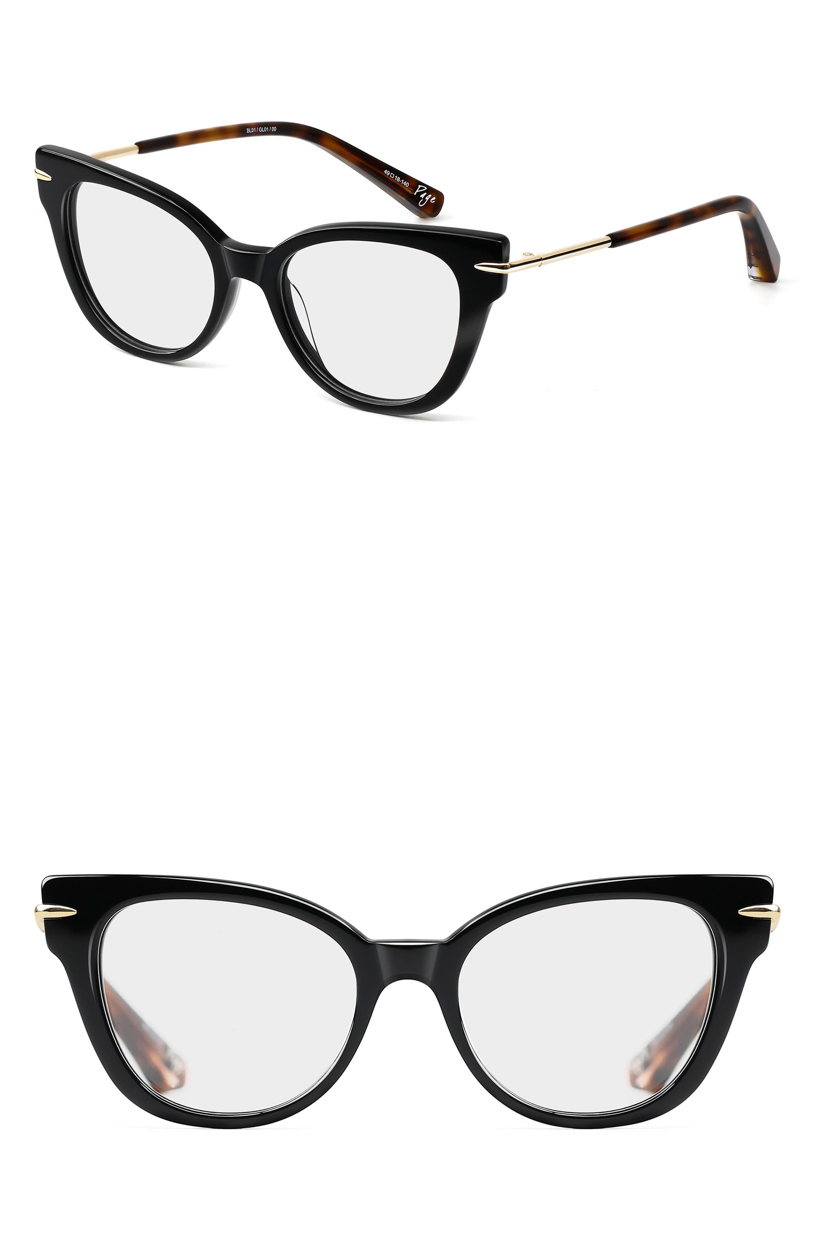 Page 49mm Cat Eye Optical Glasses,                             Main thumbnail 1, color,                             001