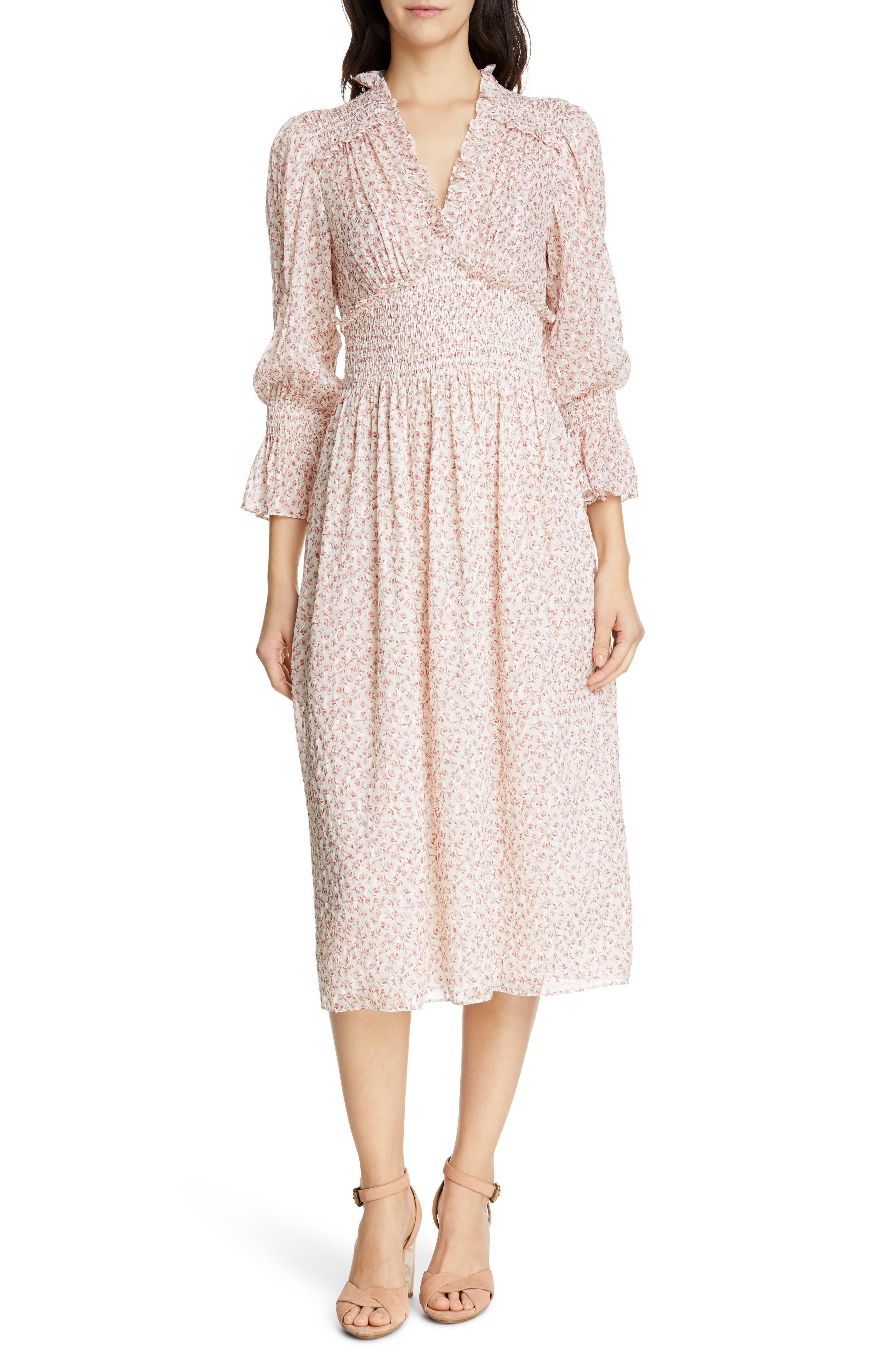 Rebecca Taylor Floral Smock Detail Long Sleeve Silk & Cotton Dress, Ivory