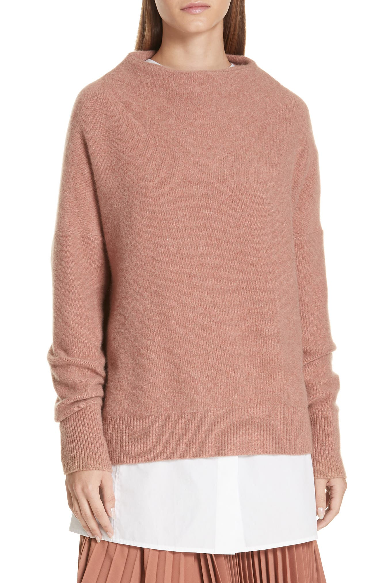 Cashmere Funnel-Neck Pullover Sweater in Coastal