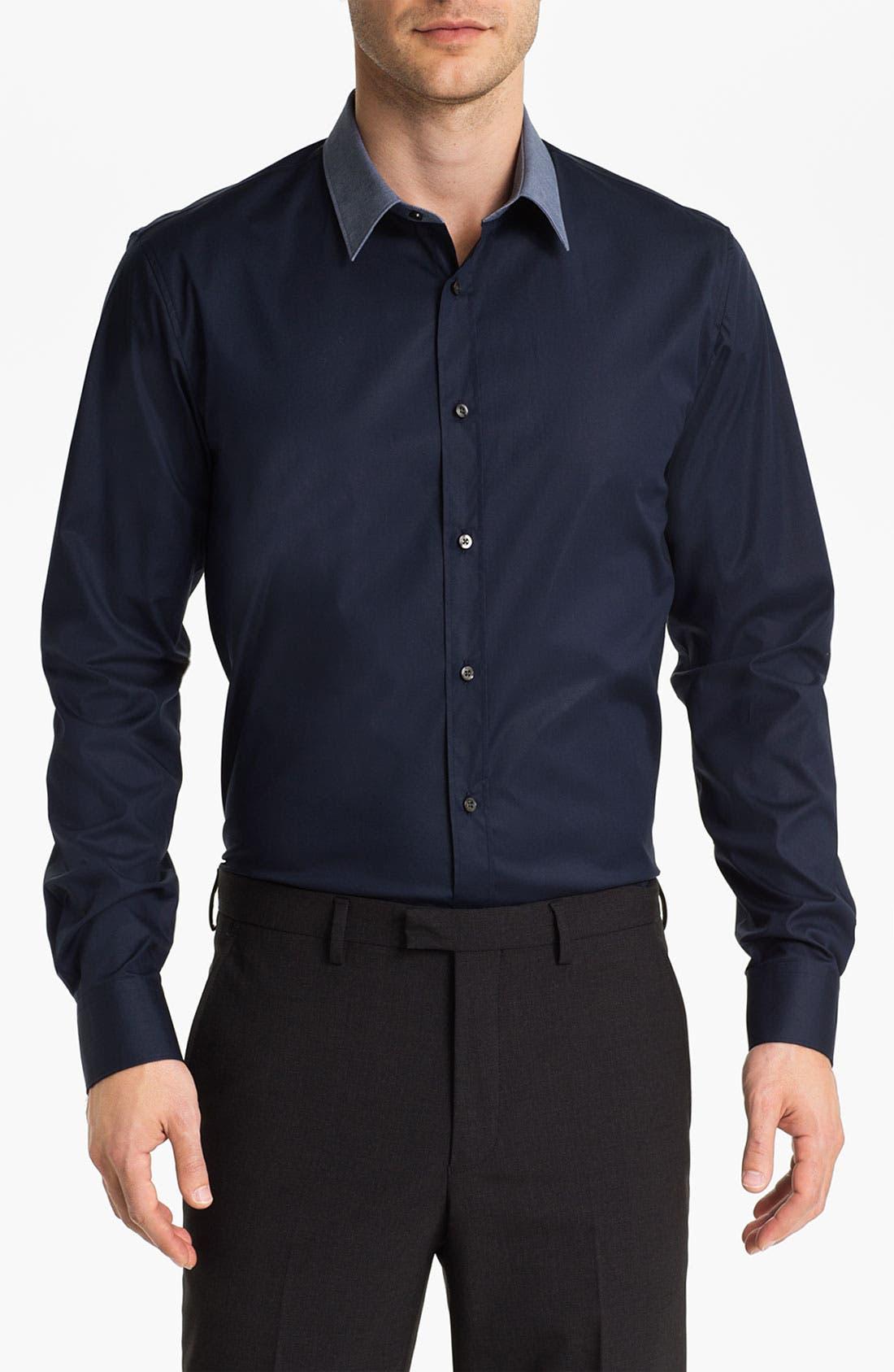 HUGO 'Elisha' Trim Fit Sport Shirt, Main, color, 464