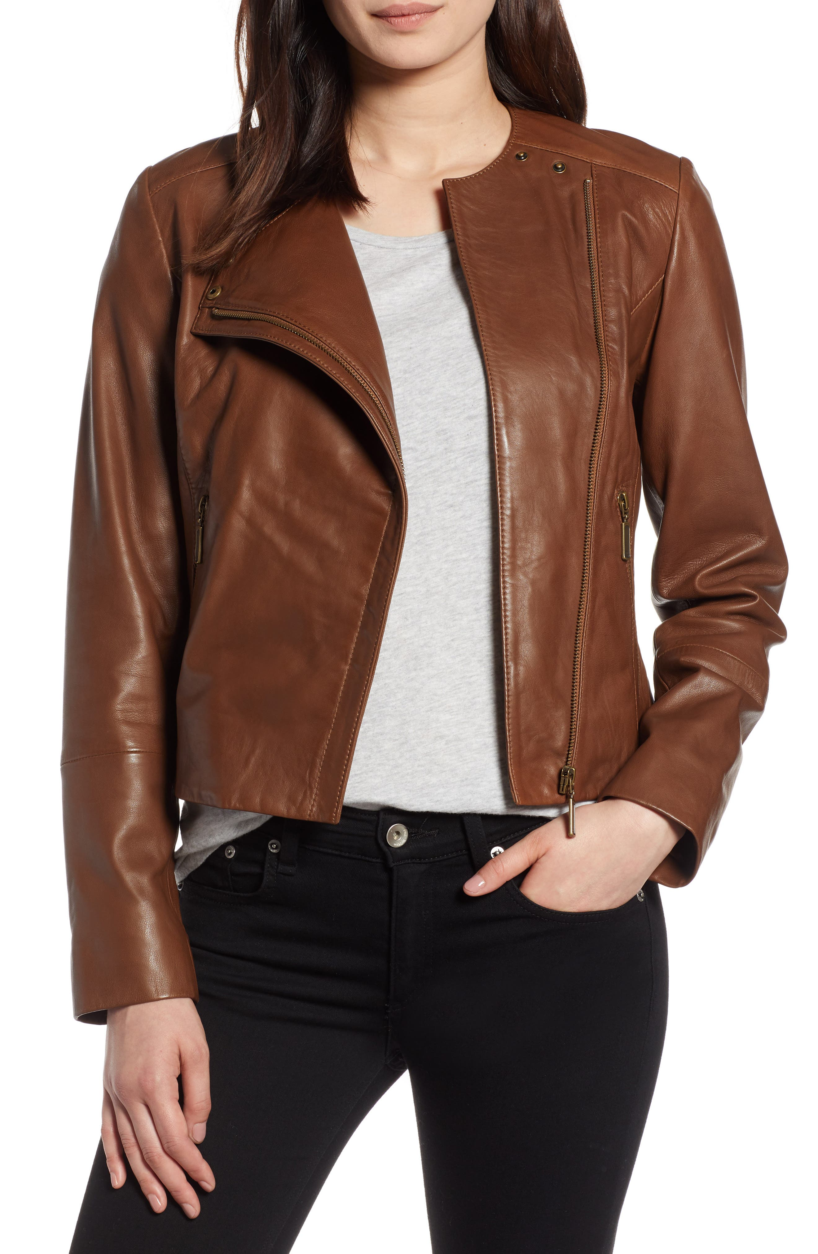 Collarless Leather Jacket,                             Main thumbnail 1, color,                             230