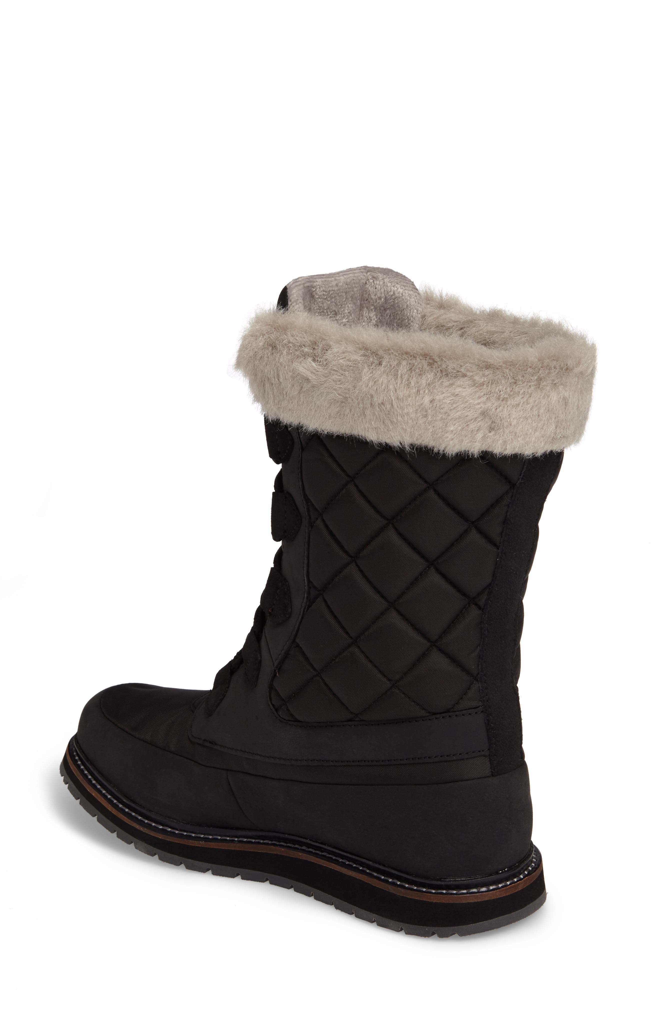 Arosa Waterproof Boot with Faux Fur Trim,                             Alternate thumbnail 2, color,                             001