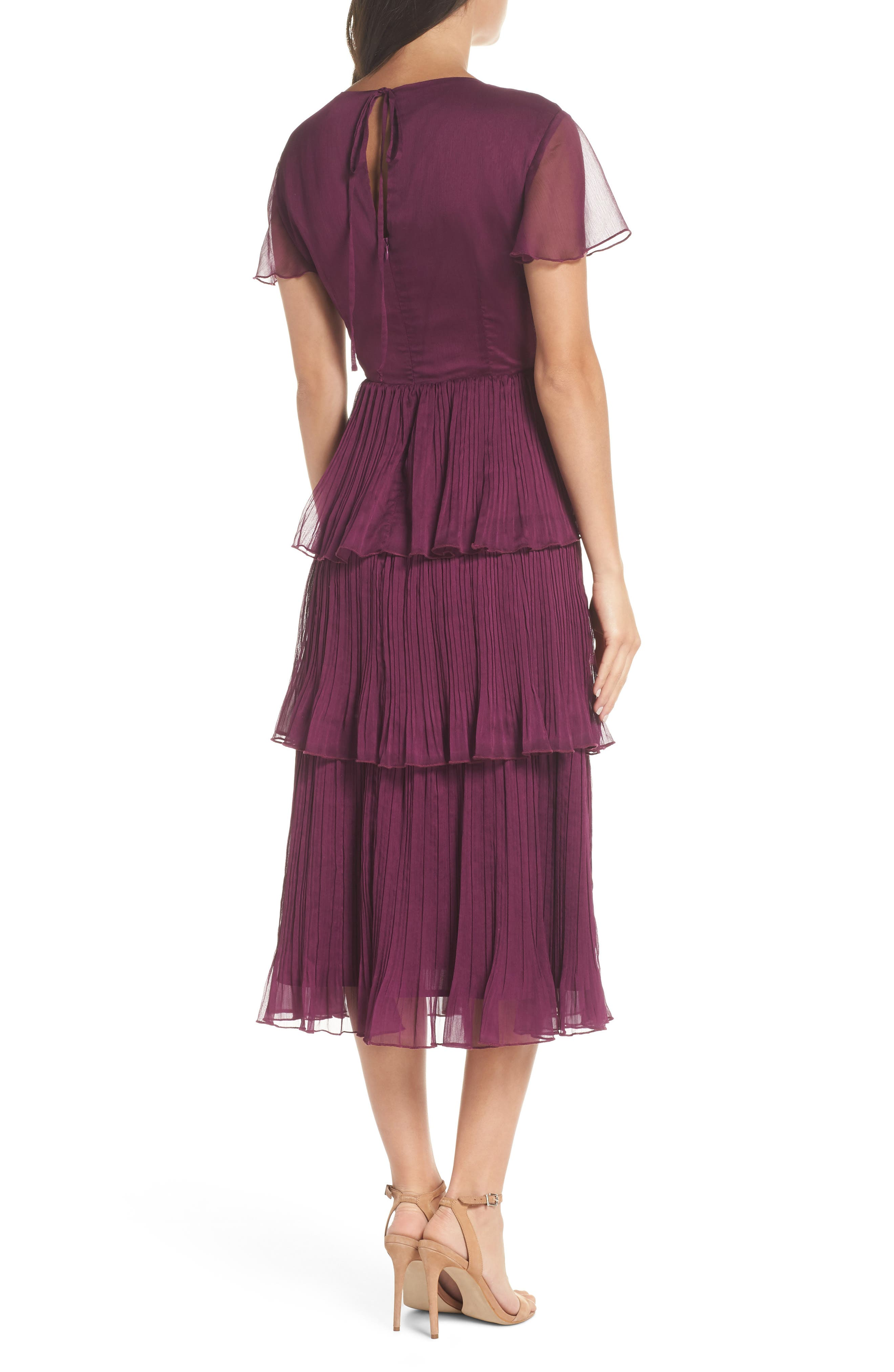 Tiered Skirt Midi Dress,                             Alternate thumbnail 2, color,                             PURPLE DARK