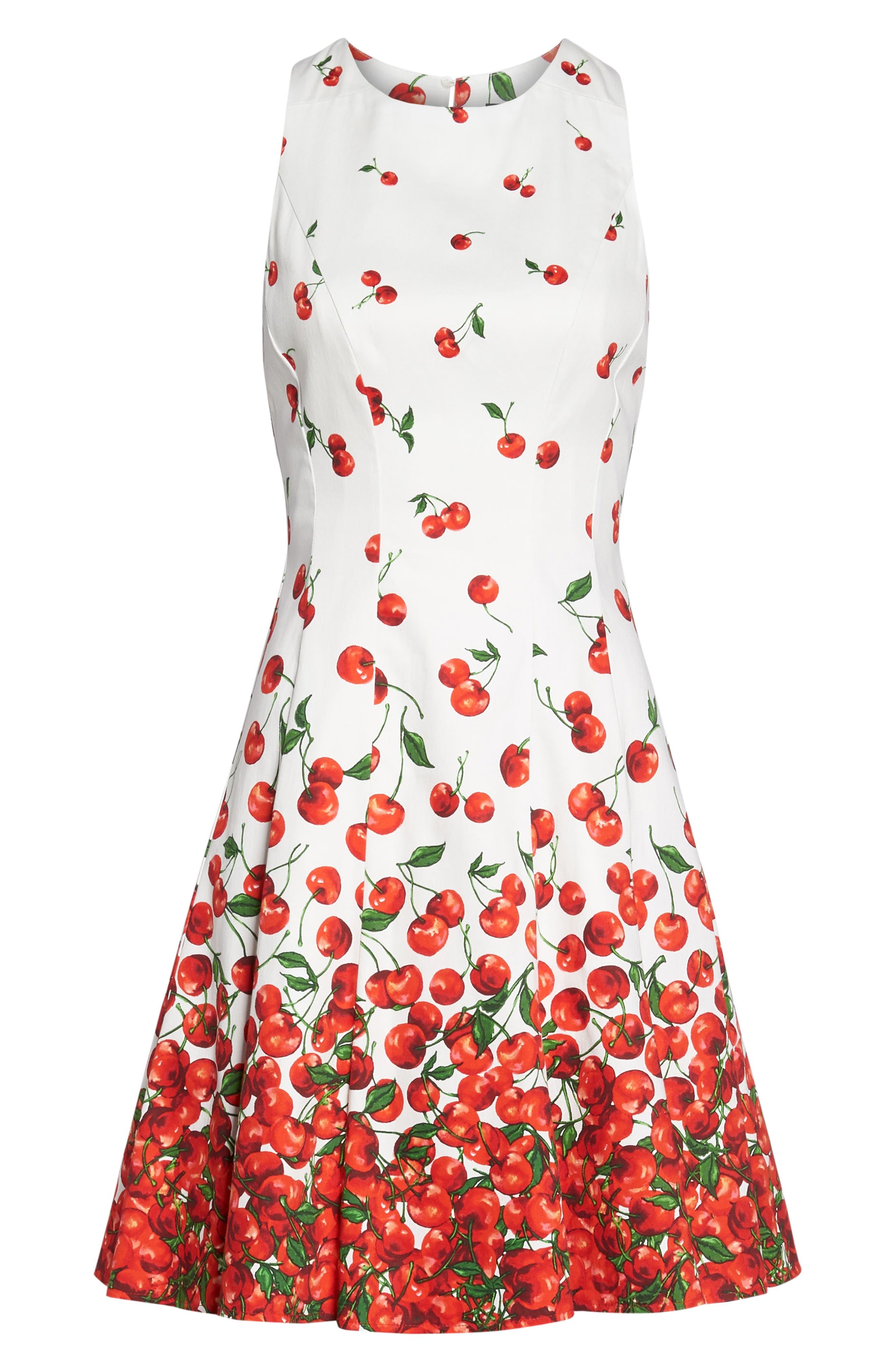 Print Fit & Flare Dress,                             Alternate thumbnail 7, color,                             143